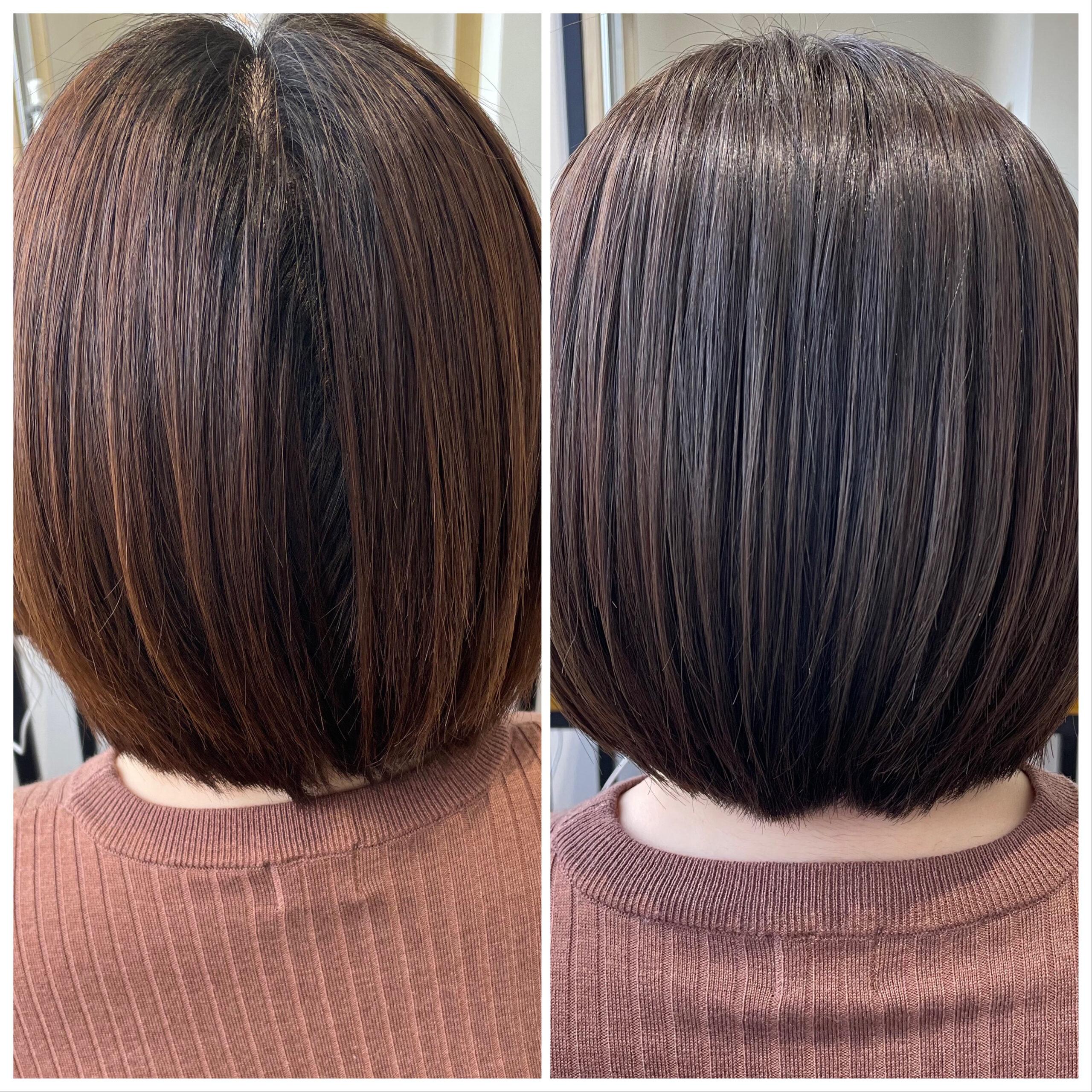 大分県別府市 ツヤ髪になりたい方は弱酸性ストレートとケアカラーの組み合わせが最強です! ビフォーアフター