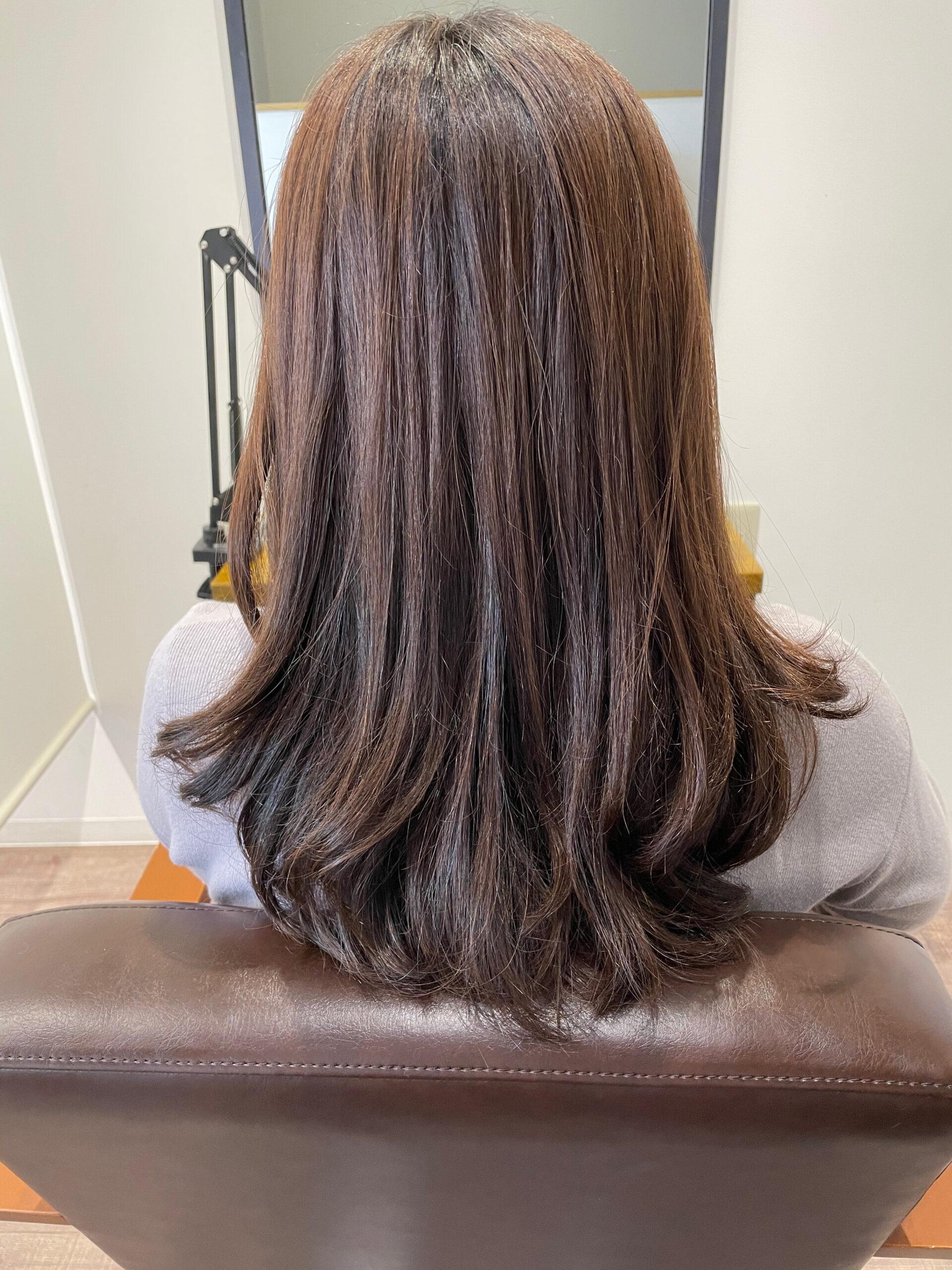大分県別府市 春らしいヘアカラー【ローズピンク】の髪色 ビフォー