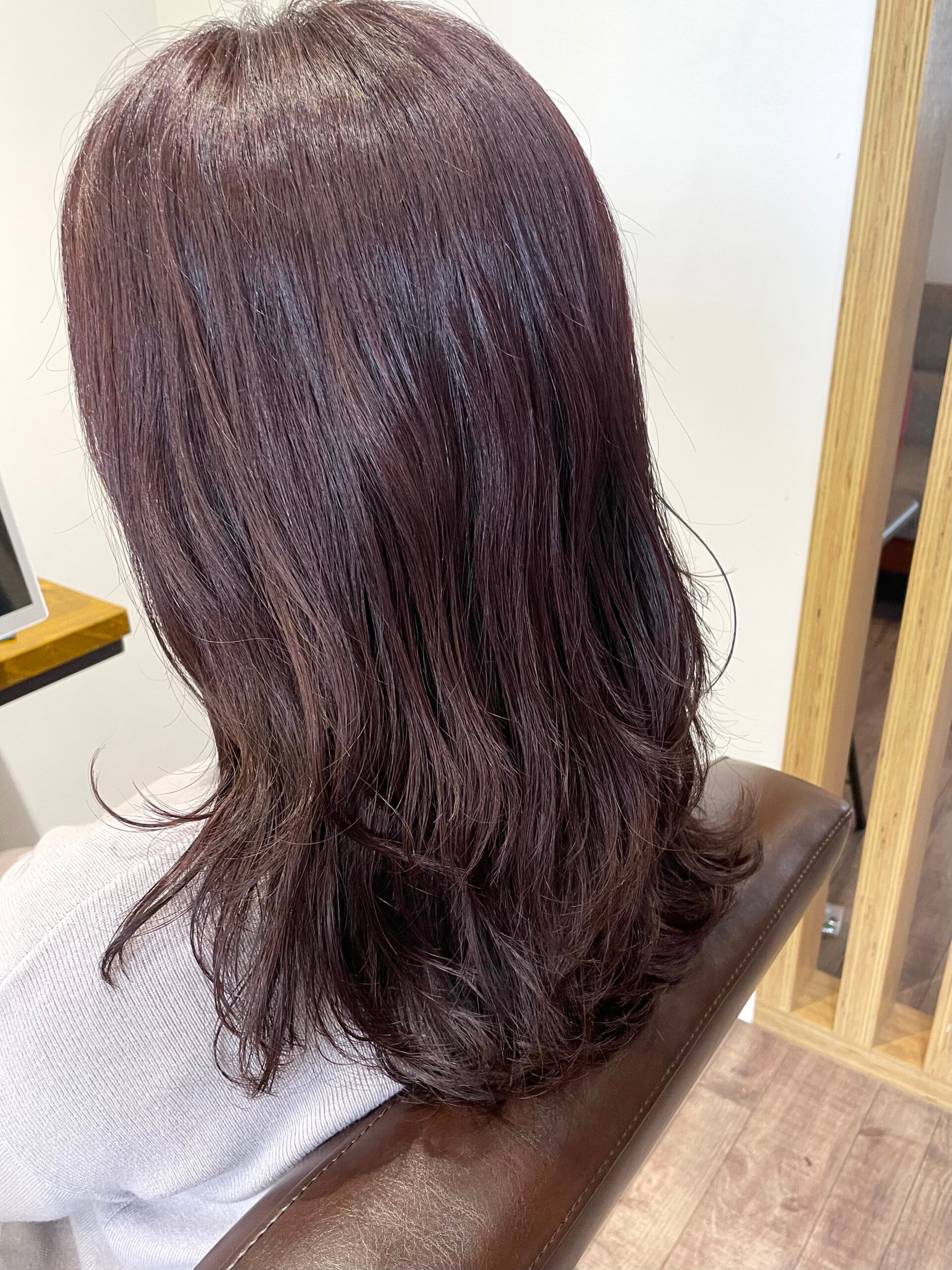 大分県別府市 春らしいヘアカラー【ローズピンク】の髪色 アフター