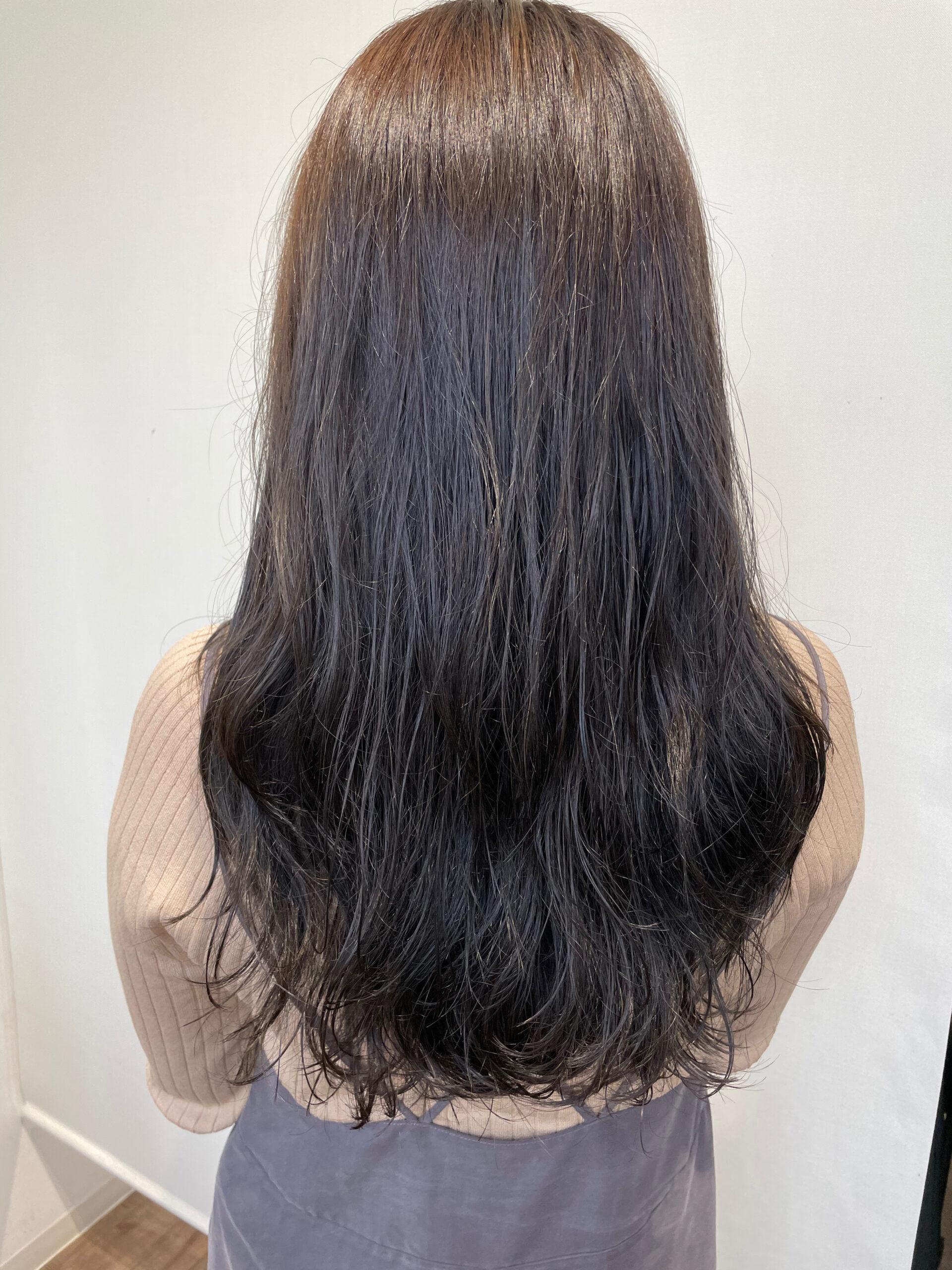 大分県別府市 ラベンダーグレージュの艶髪ヘアカラー アフター