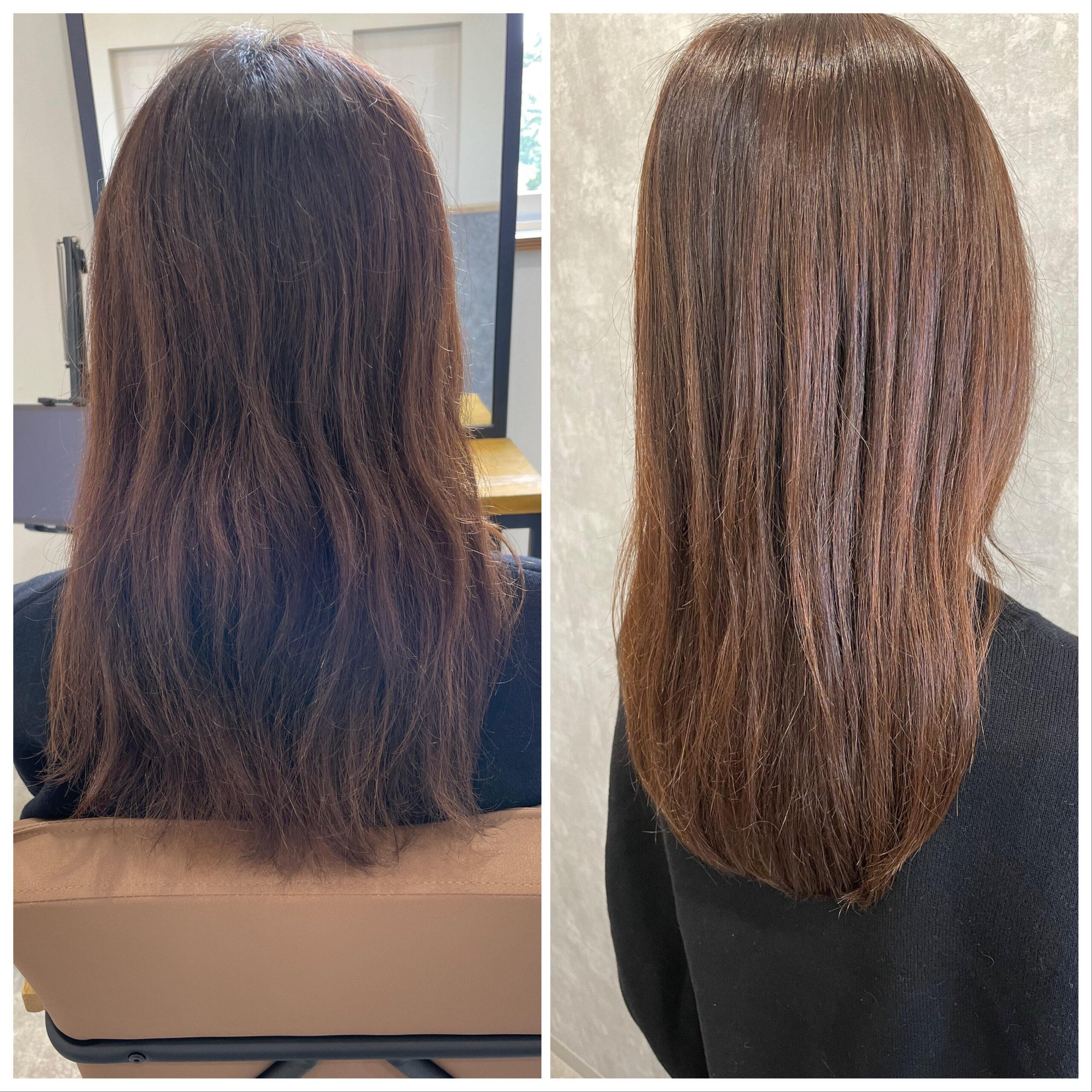 大分県別府市 弱酸性のストレートで髪の毛を扱いやすく ビフォーアフター