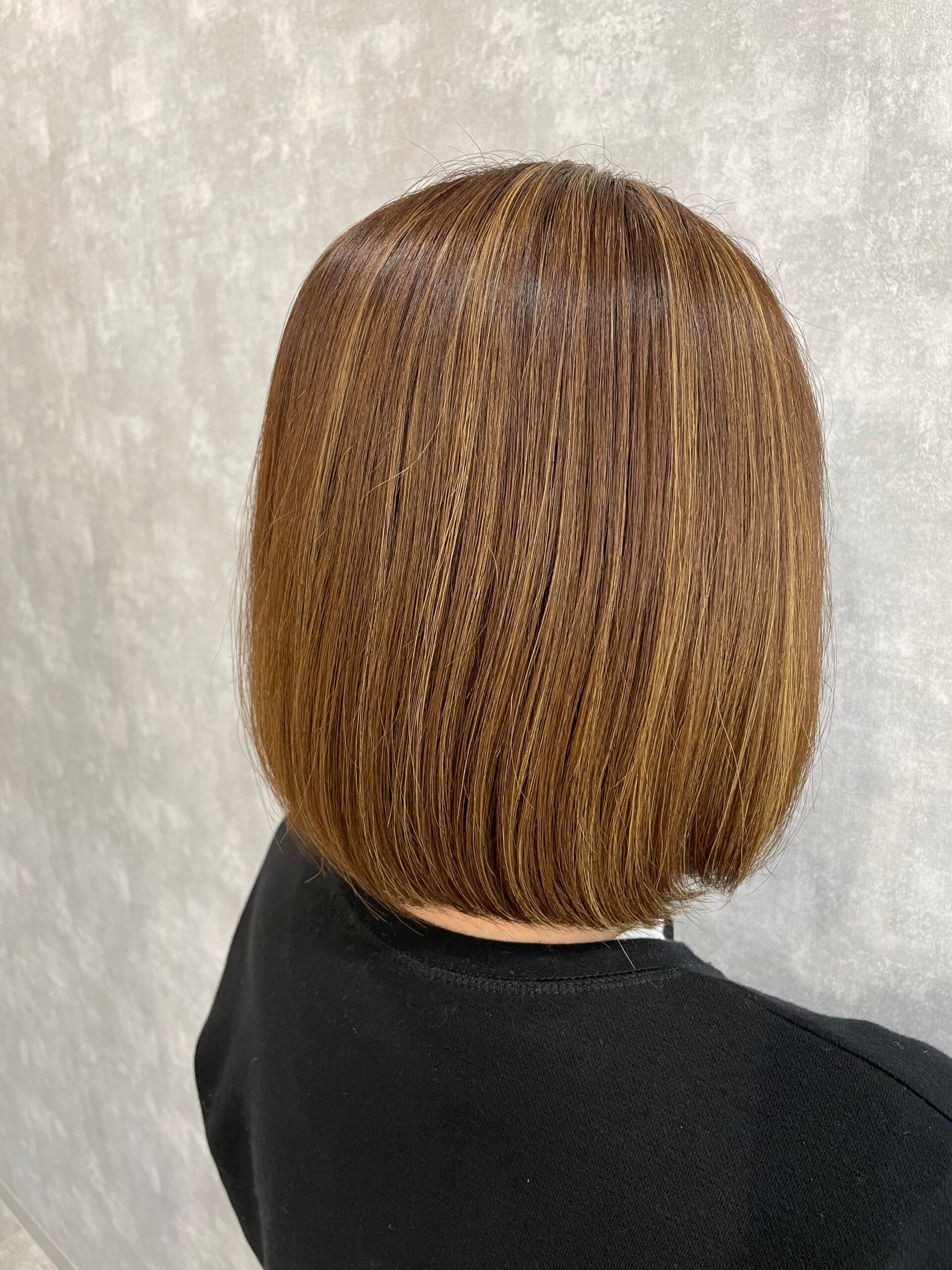 大分県別府市 ブリーチ毛でも対応可能な弱酸性のストレート アフター