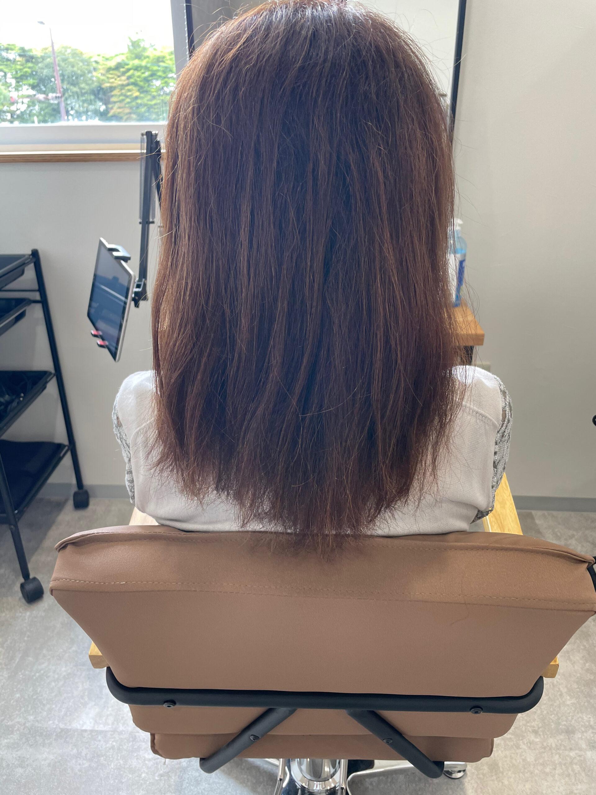 大分県別府市 エイジング毛のハイダメージ毛でも弱酸性の縮毛矯正なら綺麗になります! ビフォー
