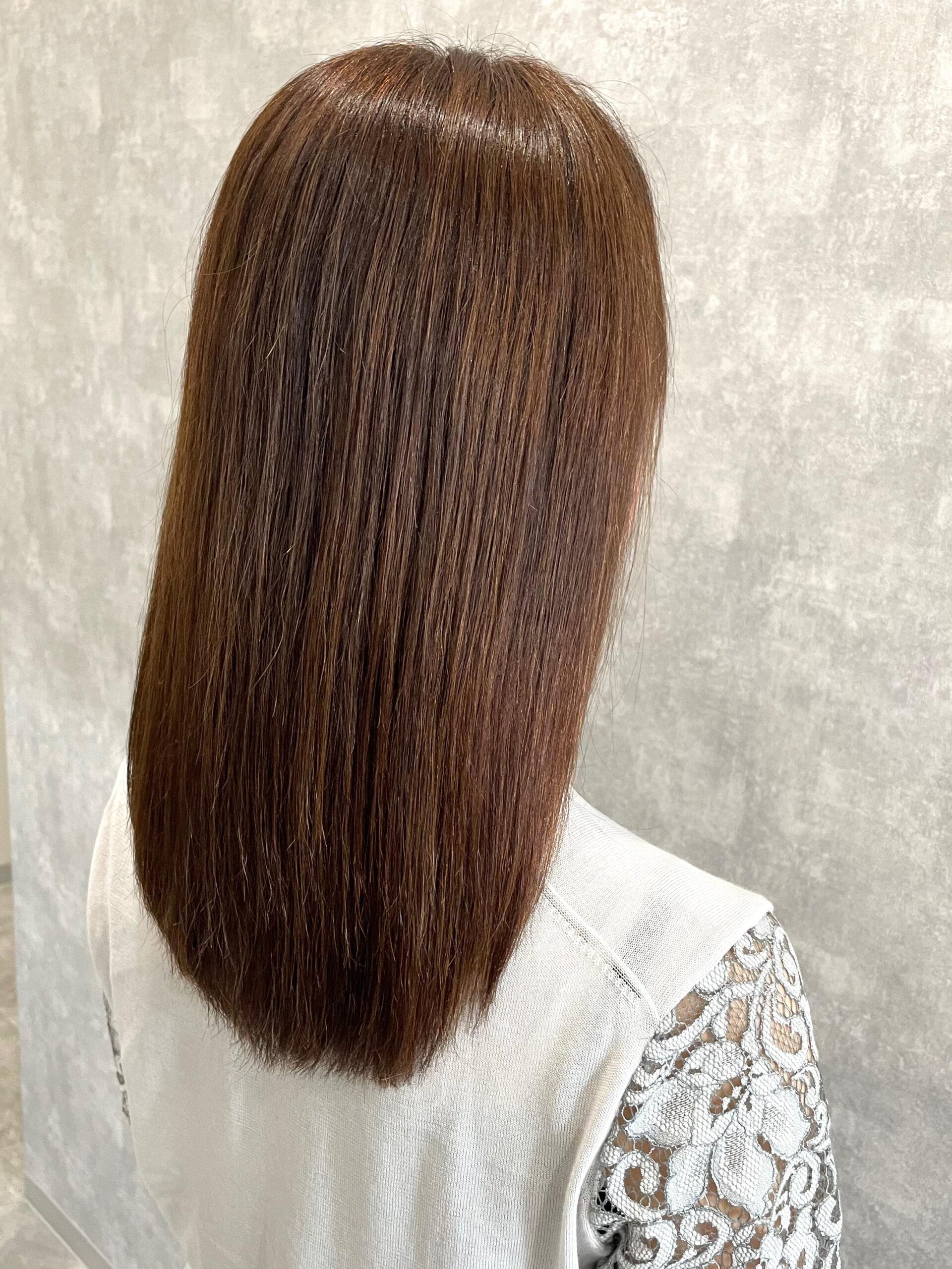 大分県別府市 エイジング毛のハイダメージ毛でも弱酸性の縮毛矯正なら綺麗になります! アフター