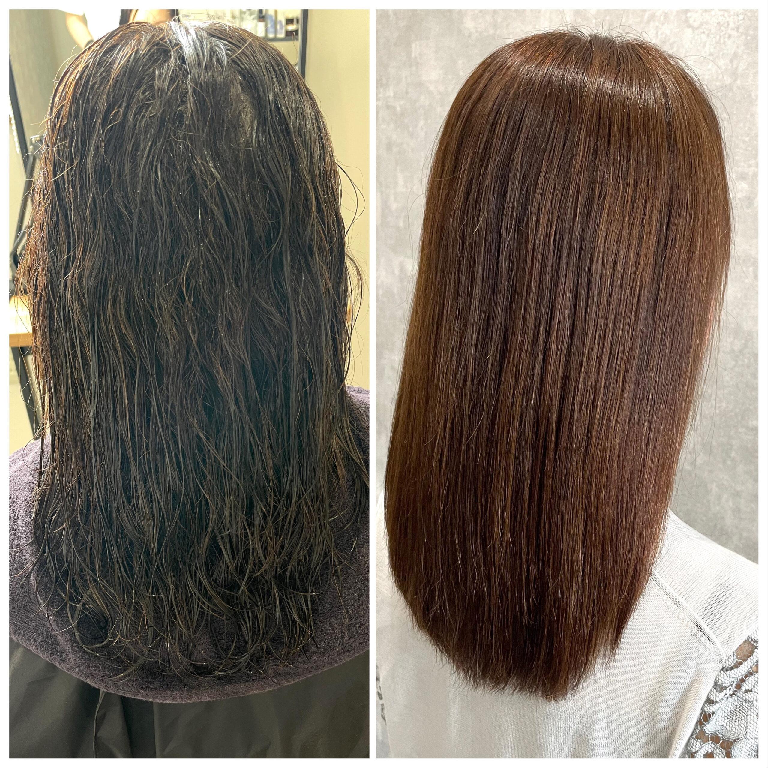 大分県別府市 エイジング毛のハイダメージ毛でも弱酸性の縮毛矯正なら綺麗になります! ビフォーアフター