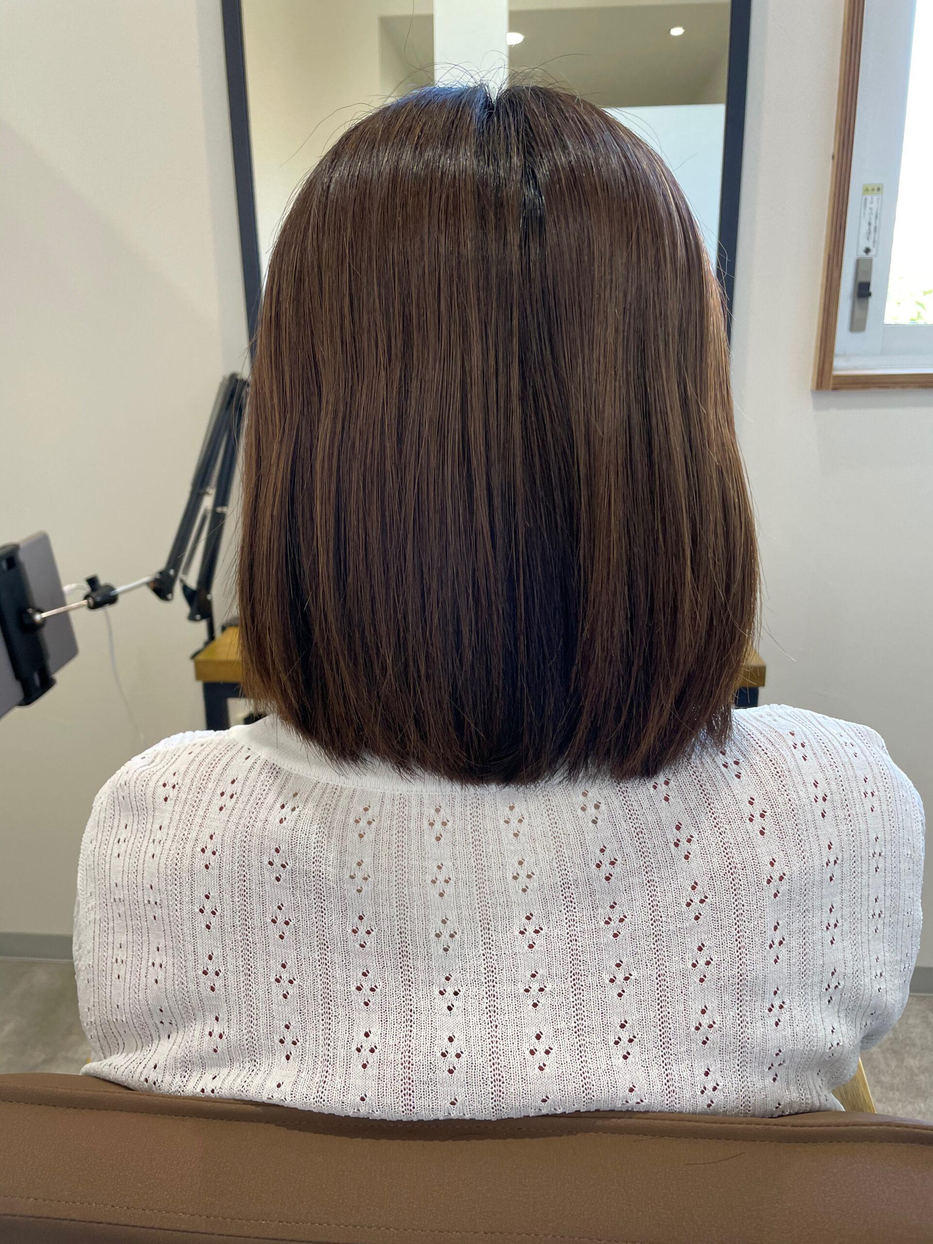 大分県別府市 弱酸性ストレートで髪の毛のボリュームダウン ビフォー