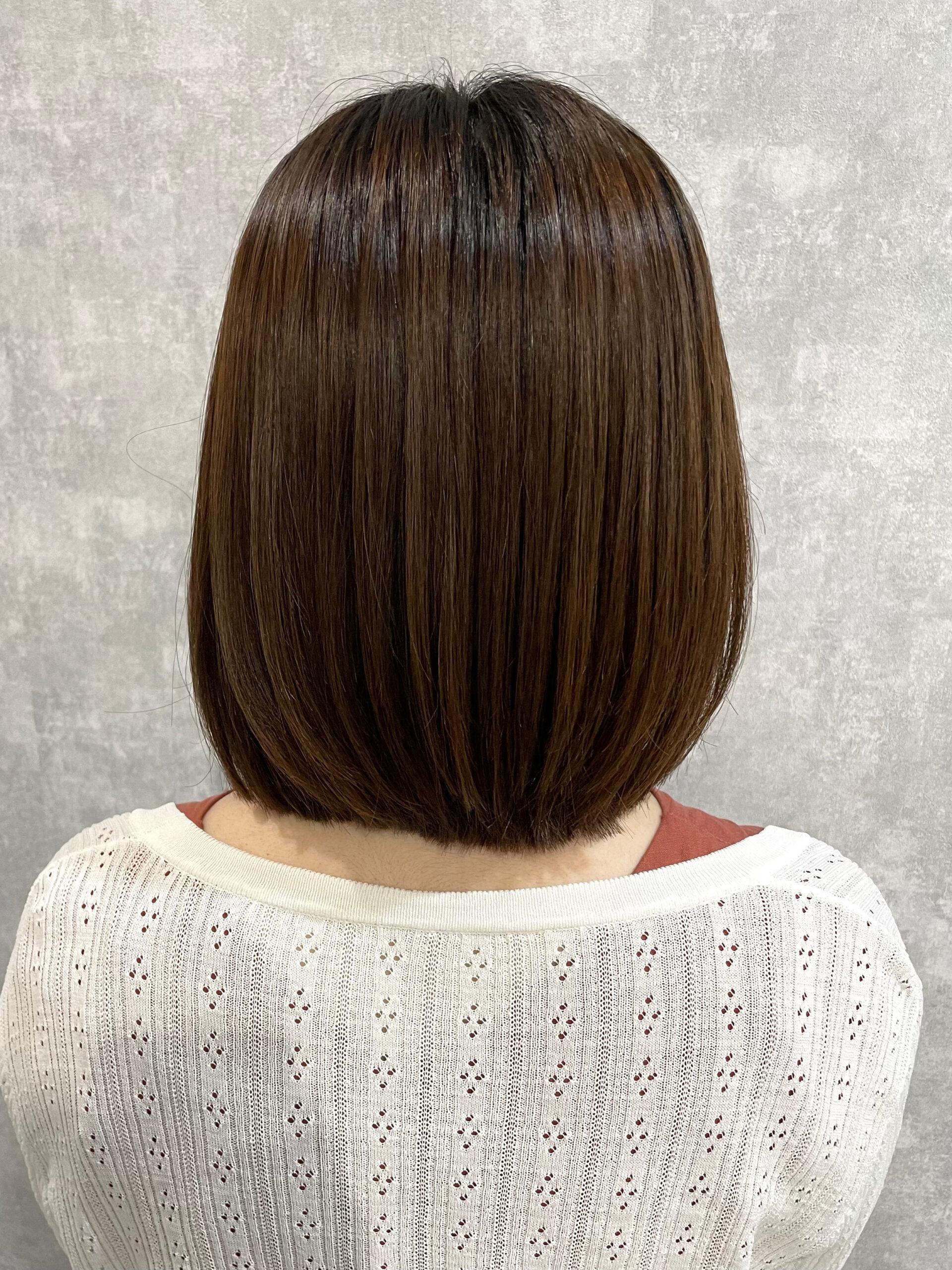 大分県別府市 弱酸性ストレートで髪の毛のボリュームダウン アフター