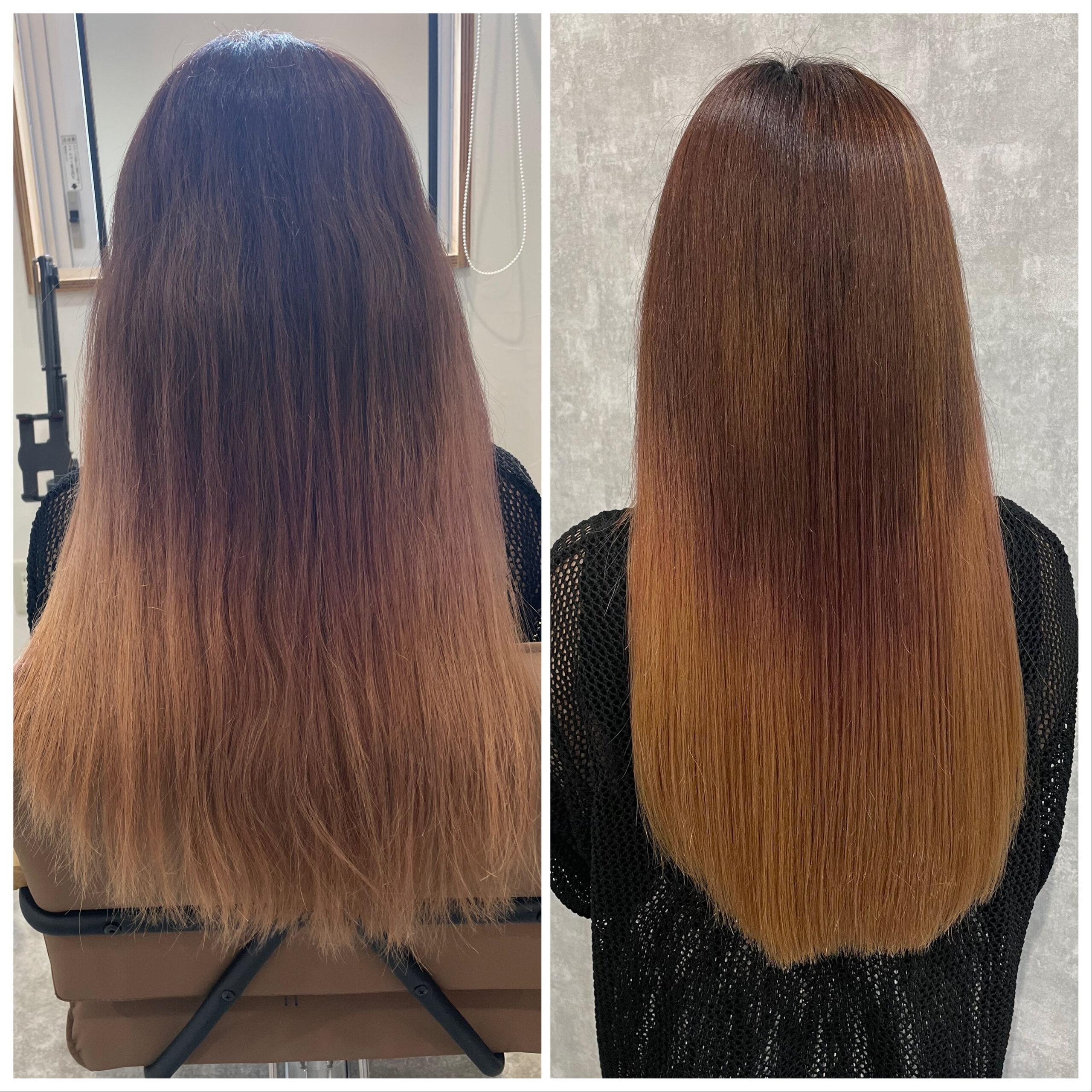 大分県別府市 ブリーチしているハイダメージ毛に髪質改善の縮毛矯正 ビフォーアフター