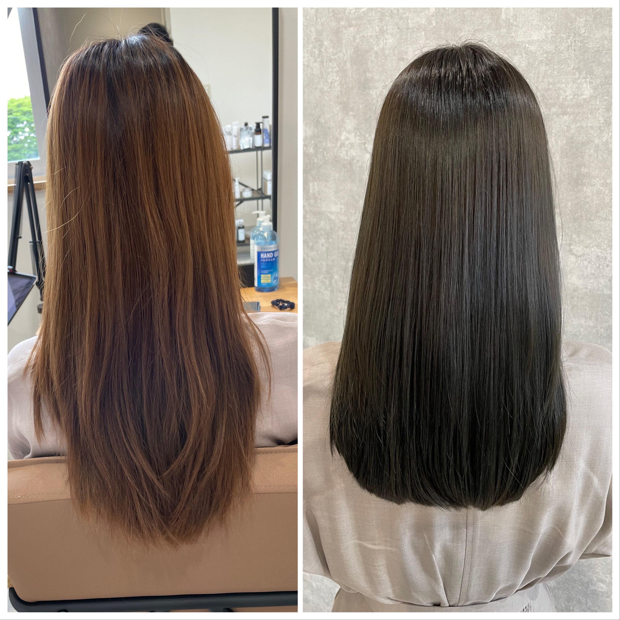 髪質改善トリートメントでツヤツヤなヘアカラー ビフォーアフター