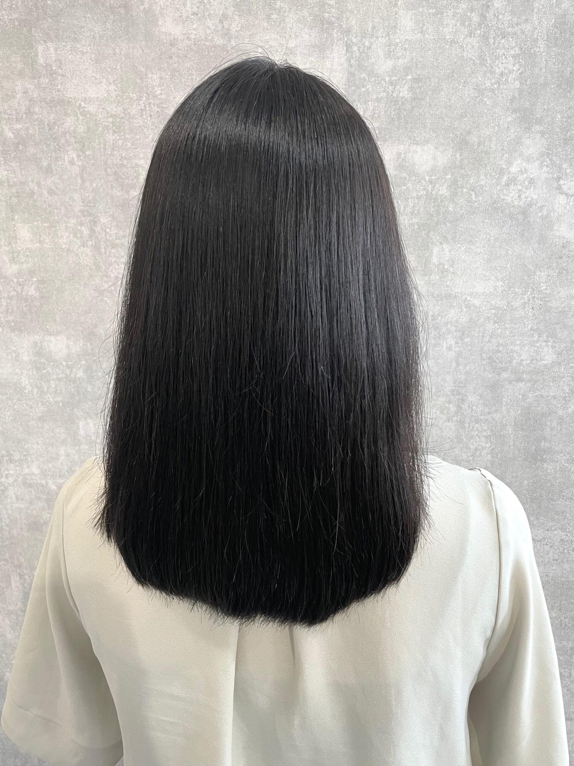 大分県別府市 膨らむ髪の毛を弱酸性ストレートでボリュームダウン アフター
