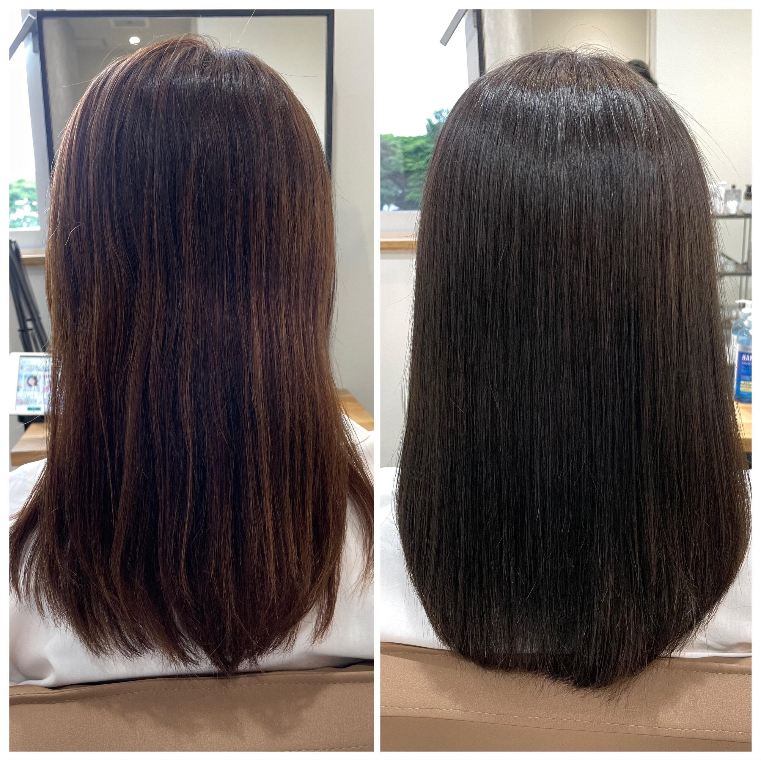 大分県別府市 ツヤツヤになれる髪質改善カラー ビフォーアフター