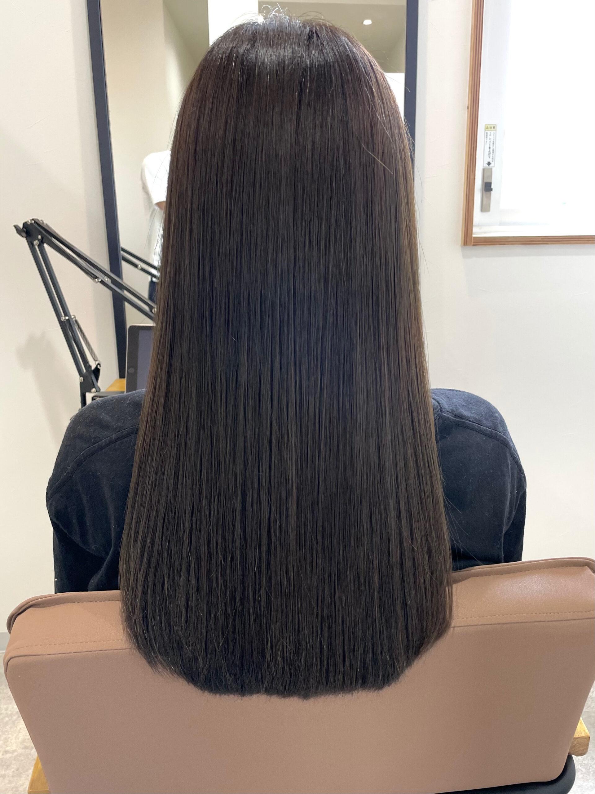 大分県別府市 髪質改善トリートメント&カラーで艶々な髪の毛 アフター