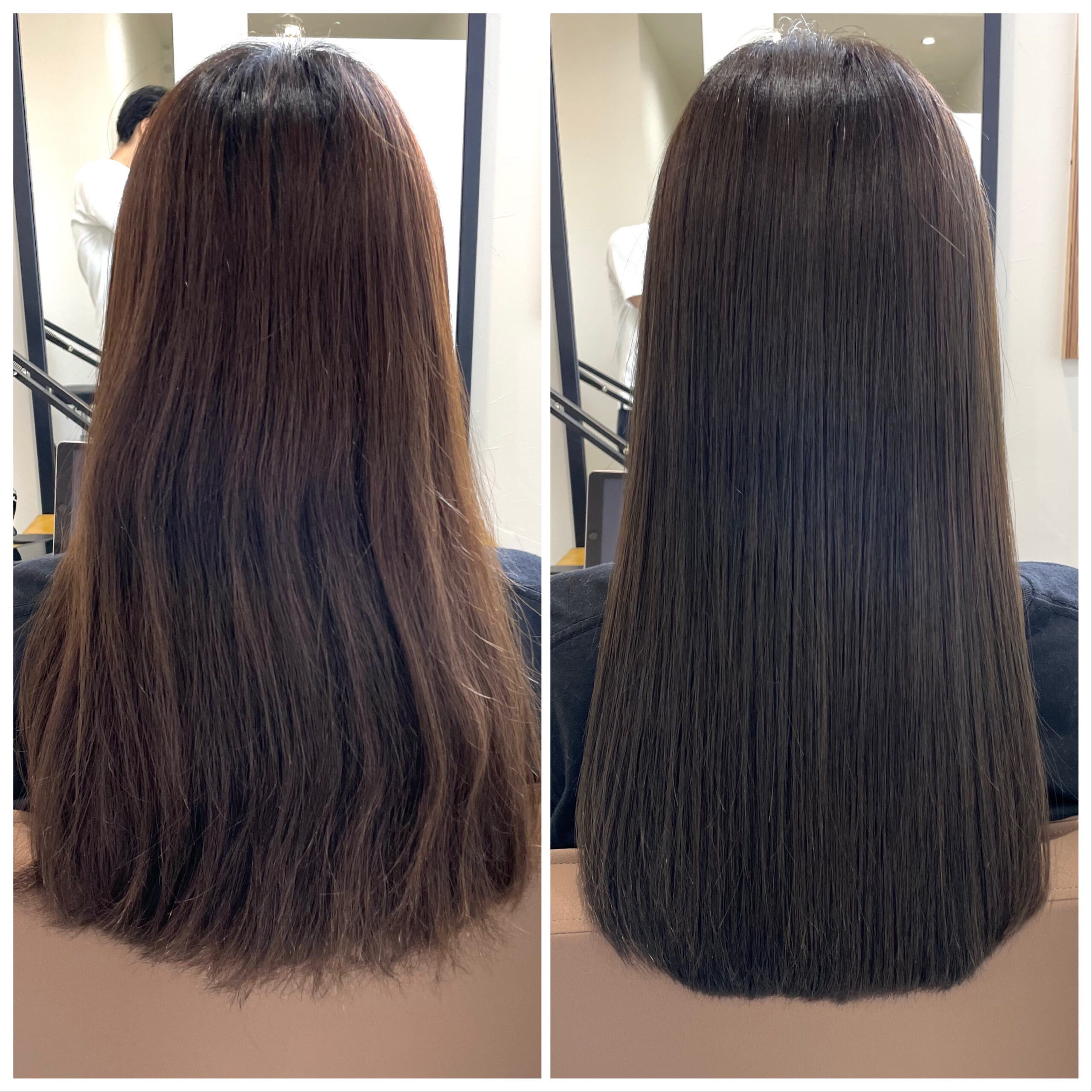大分県別府市 髪質改善トリートメント&カラーで艶々な髪の毛 ビフォーアフター