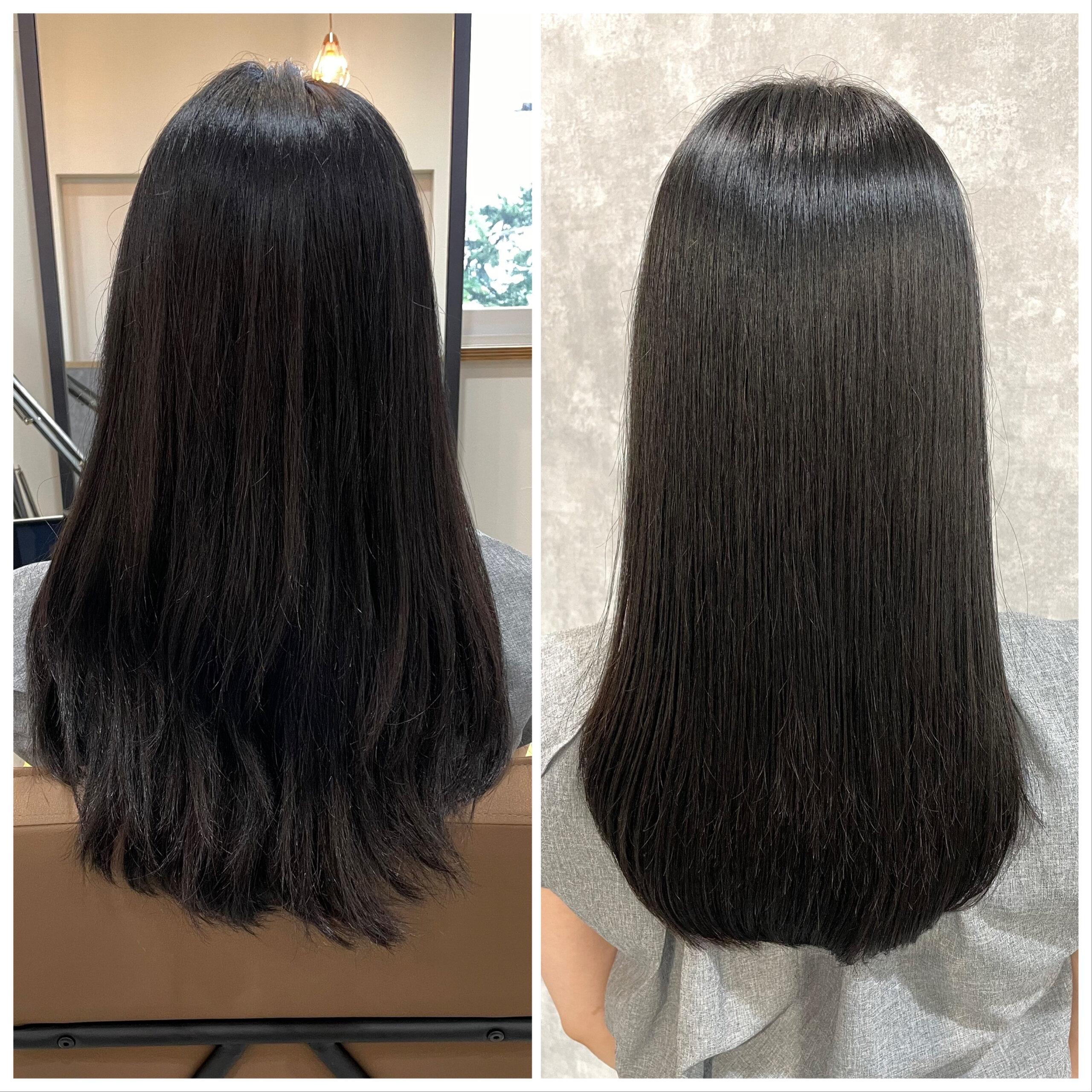 大分県別府市 強いくせ毛も髪質改善の縮毛矯正で柔らかいストレートスタイル ビフォーアフター