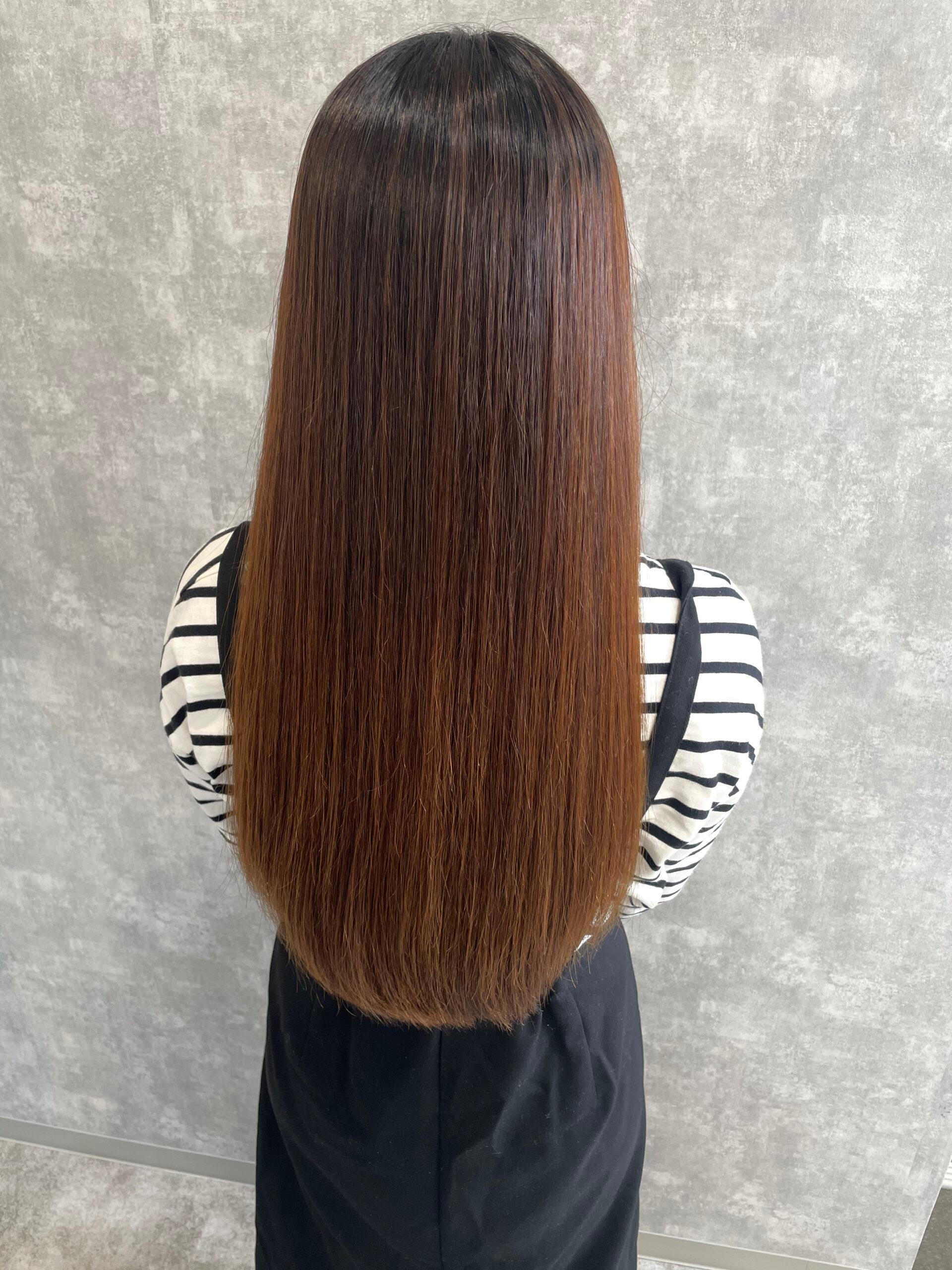 大分県別府市 スーパーロングの艶髪ストレート アフター