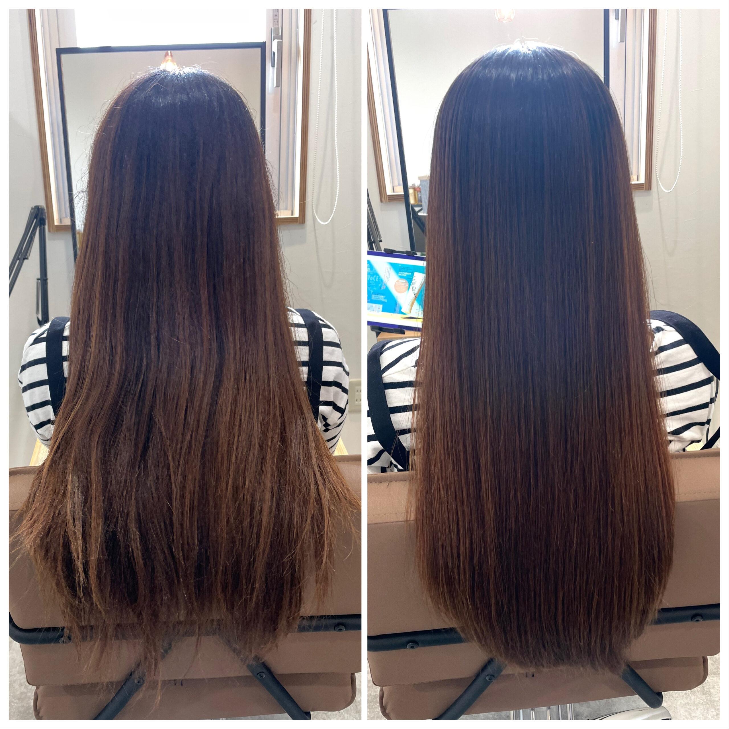 大分県別府市 スーパーロングの艶髪ストレート ビフォーアフター