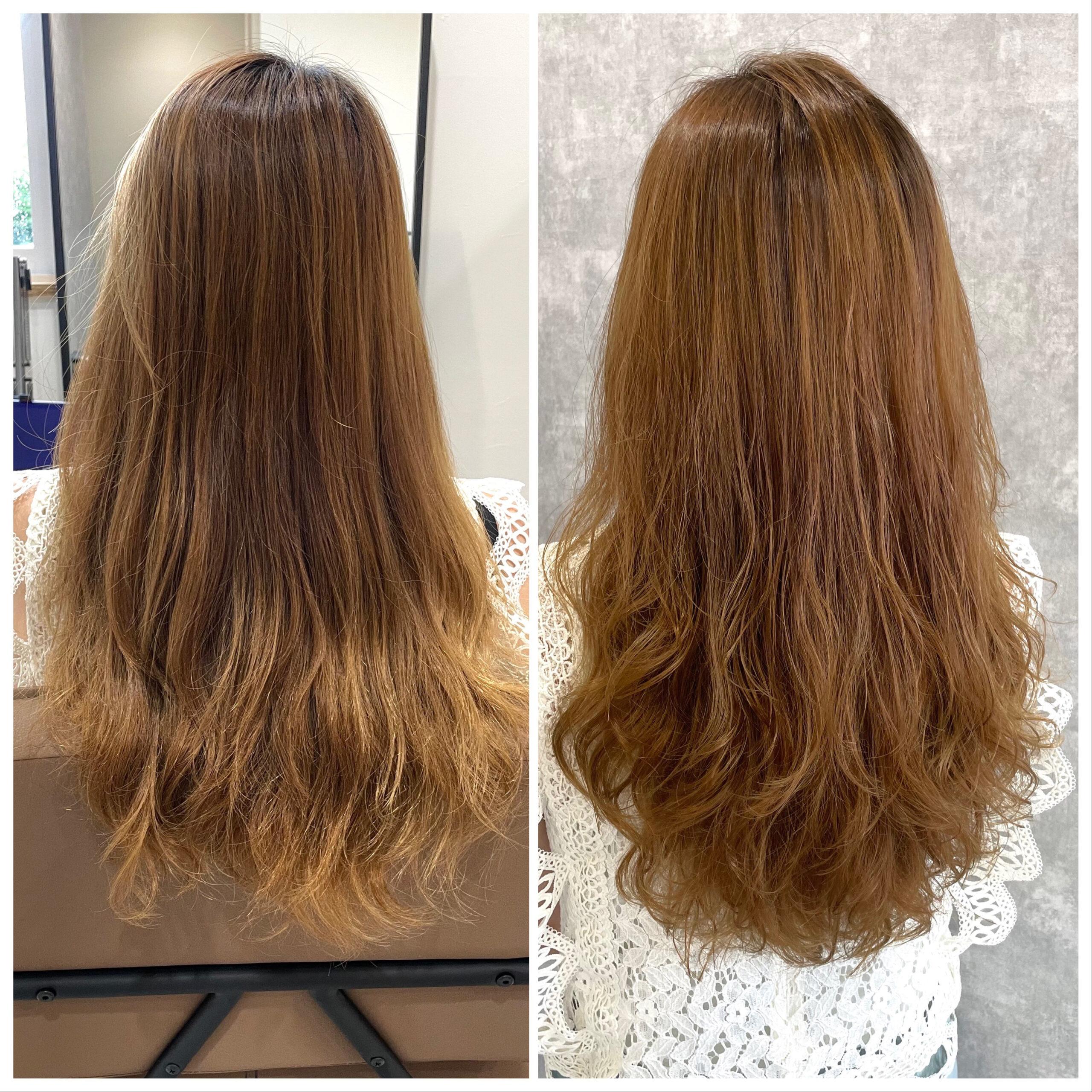 大分県別府市 ハイダメージの髪の毛でも柔らかい仕上がりのストカール ビフォーアフター