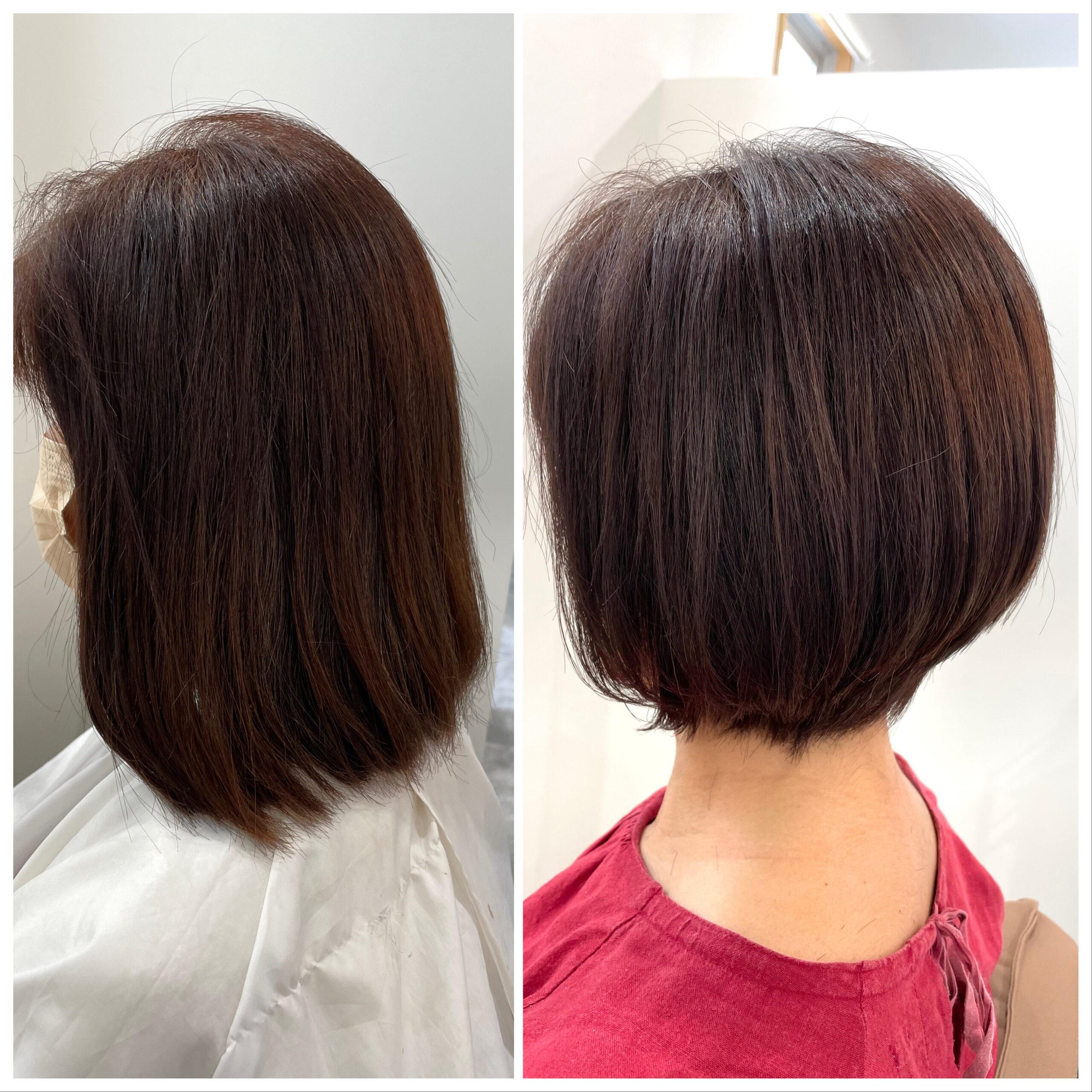 大分県別府市 伸びっぱなしの髪の毛をショートボブにばっさりカット ビフォーアフター