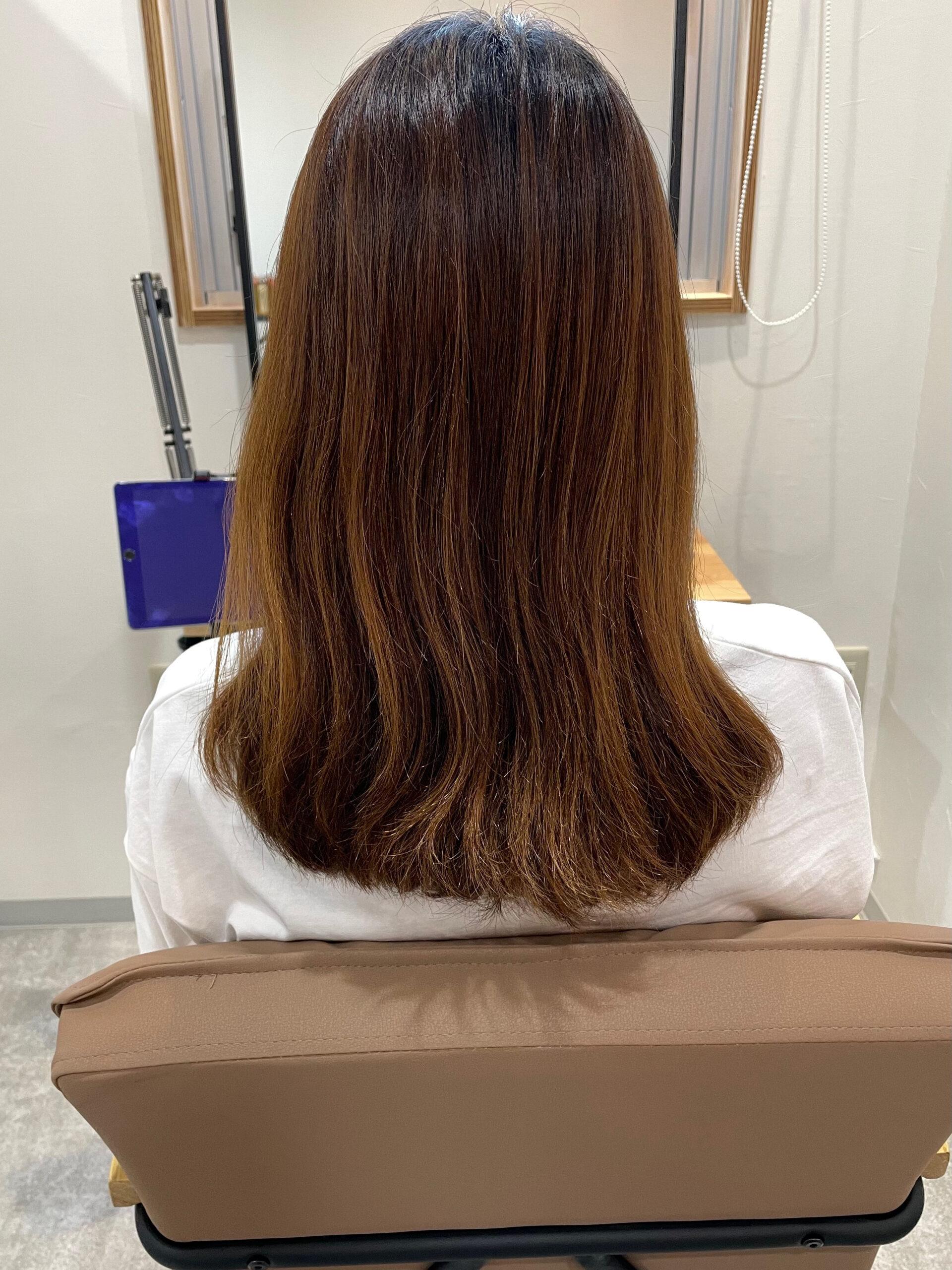 大分県別府市 髪質改善トリートメントでハイトーンでもツヤツヤな髪 ビフォー
