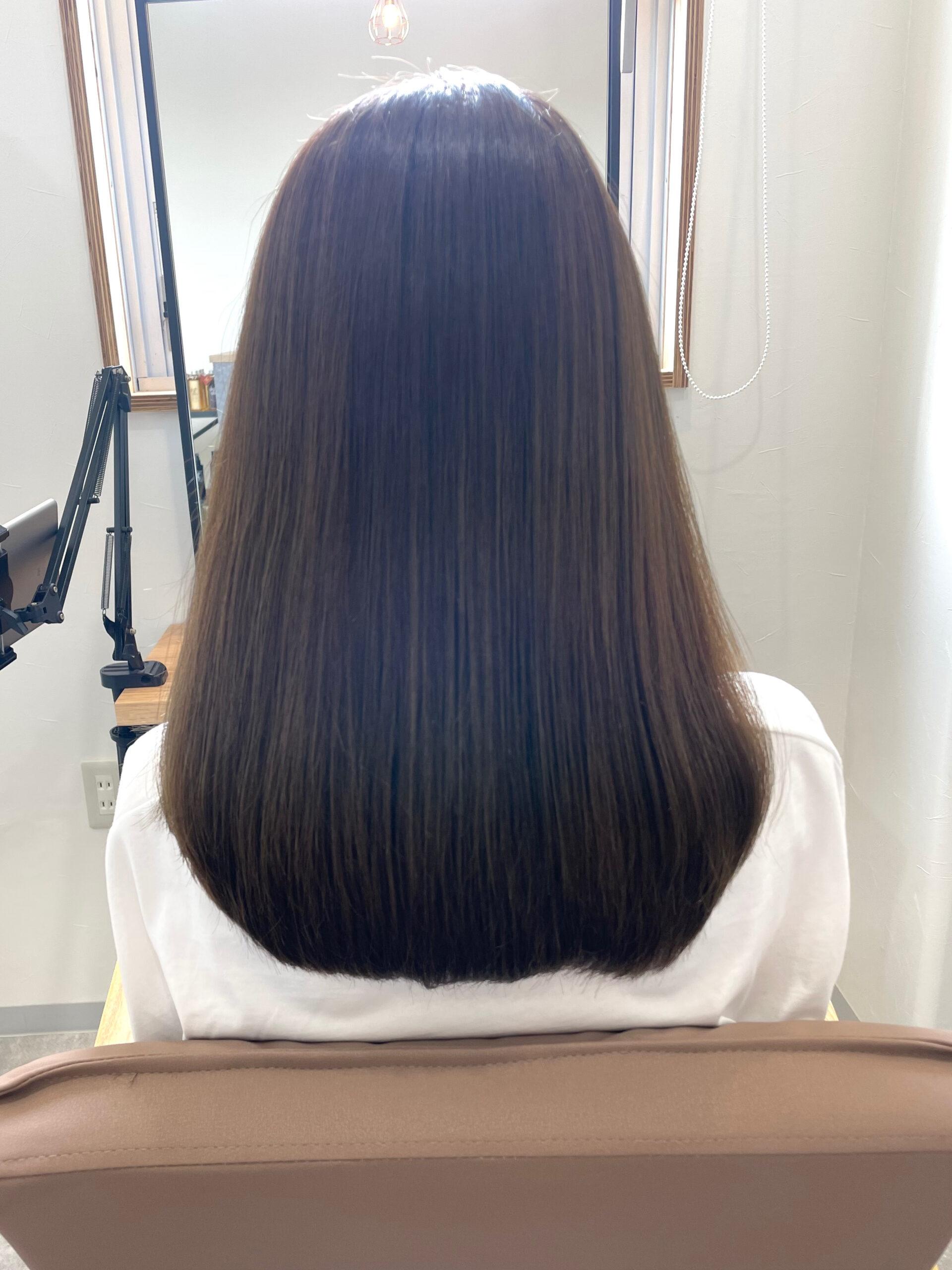 大分県別府市 髪質改善トリートメントでハイトーンでもツヤツヤな髪 アフター