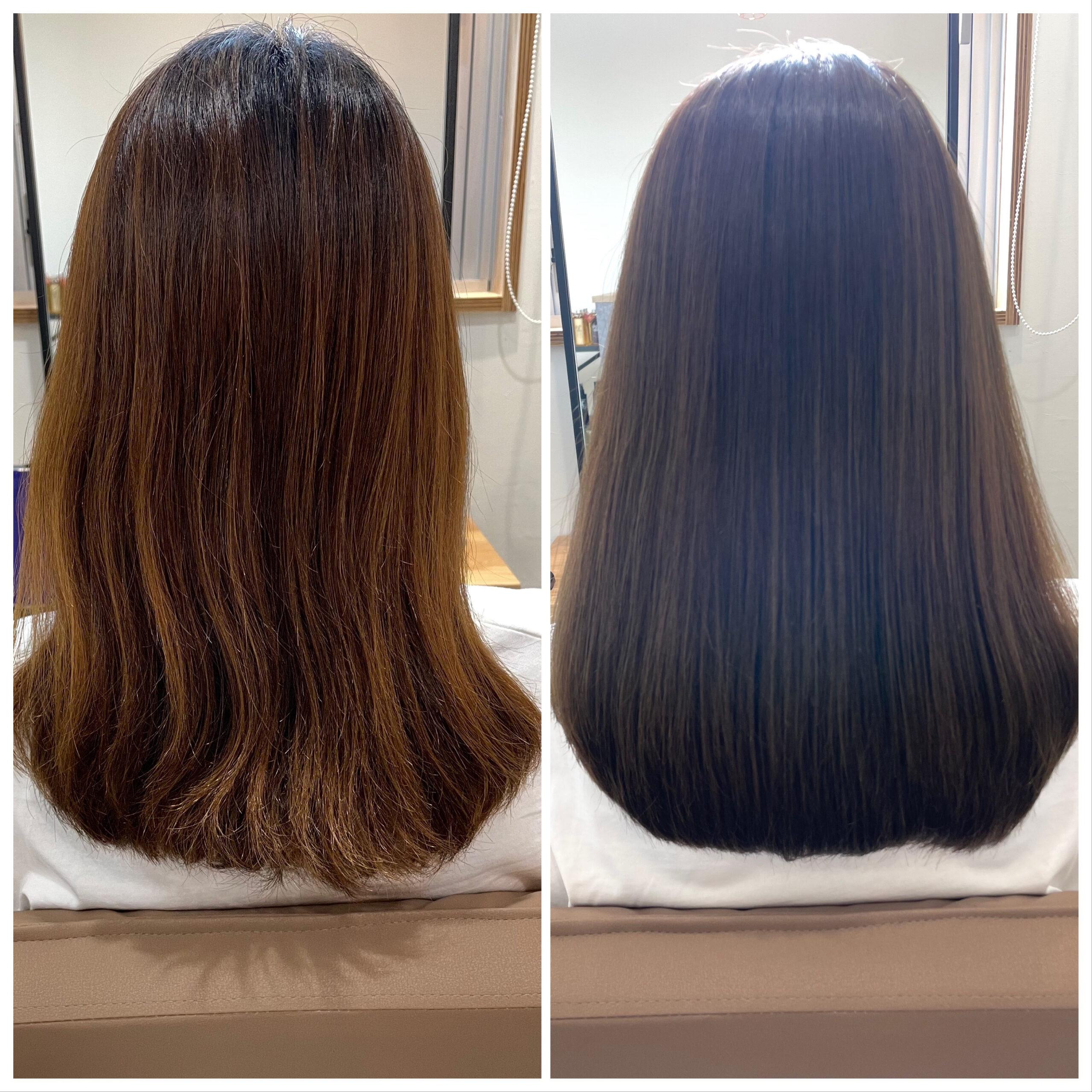 大分県別府市 髪質改善トリートメントでハイトーンでもツヤツヤな髪 ビフォーアフター