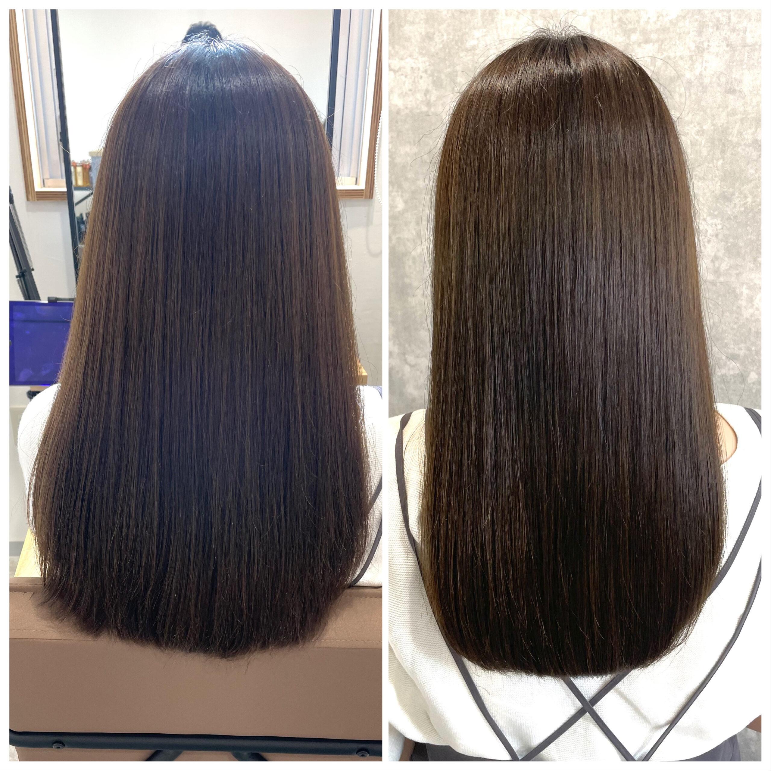 大分県別府市 髪質改善トリートメントを繰り返してさらに上質な艶髪カラー ビフォーアフター