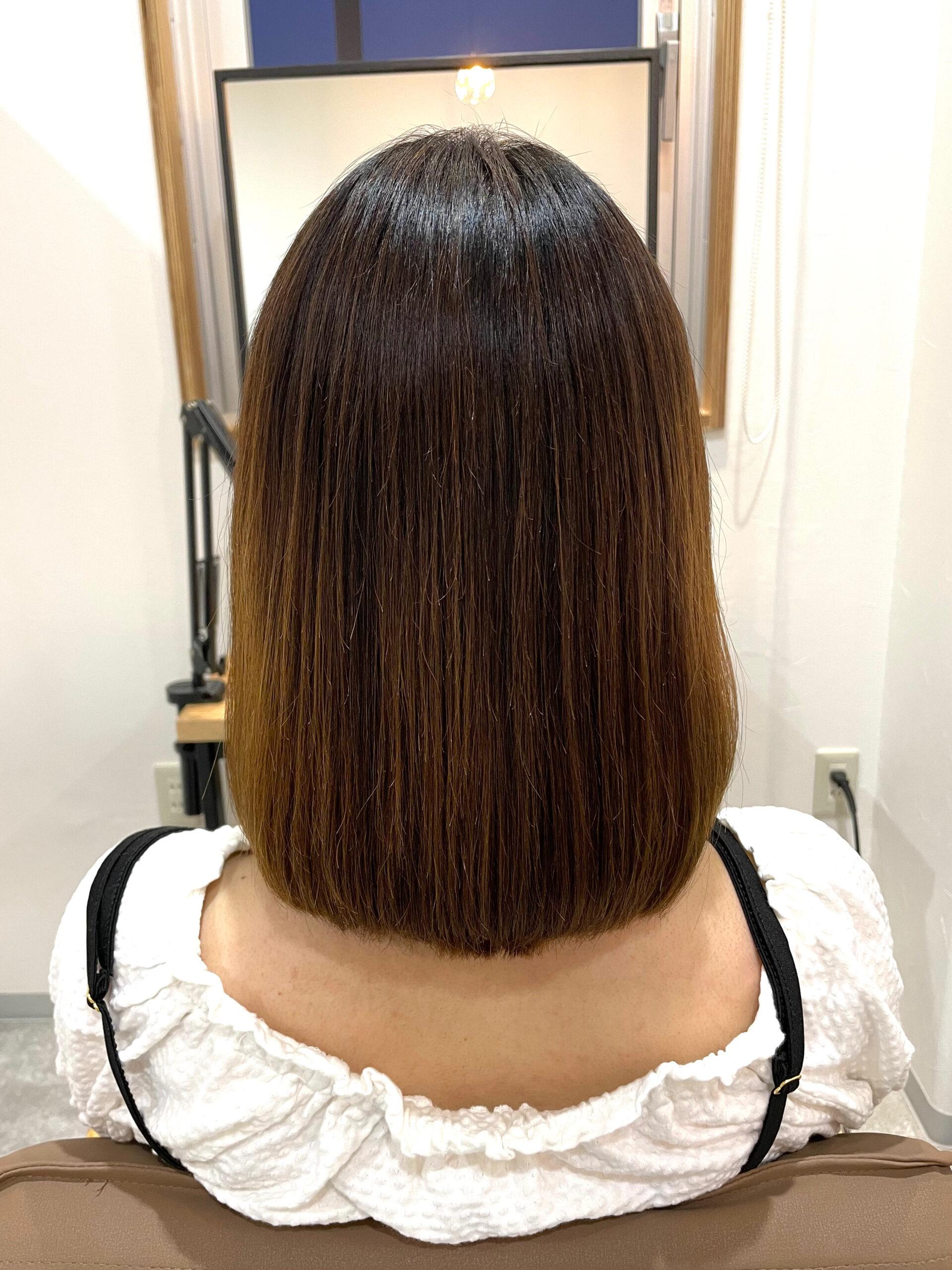 大分県別府市 弱酸性の縮毛矯正でハイダメージ毛も綺麗なストレートに アフター