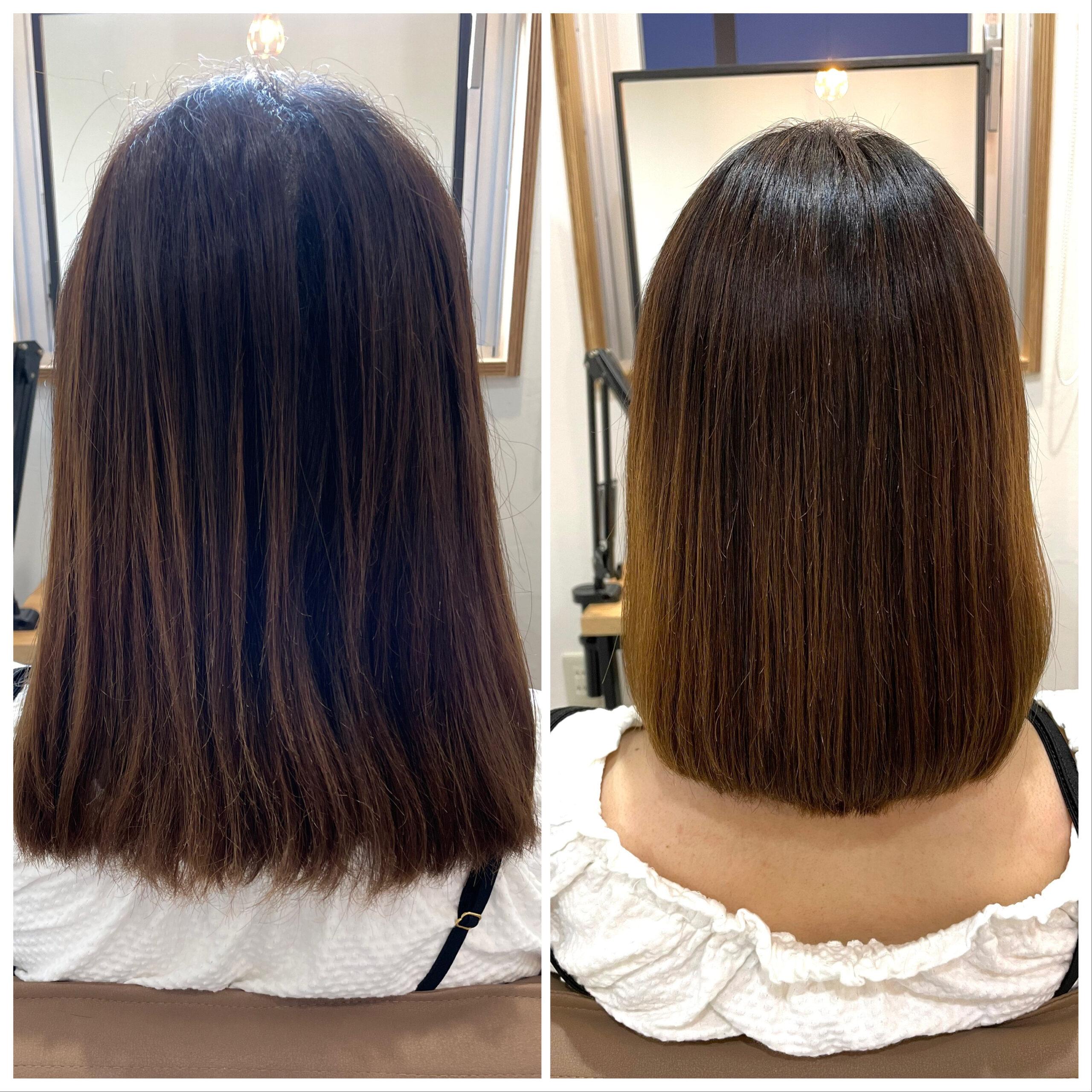 大分県別府市 弱酸性の縮毛矯正でハイダメージ毛も綺麗なストレートに ビフォーアフター