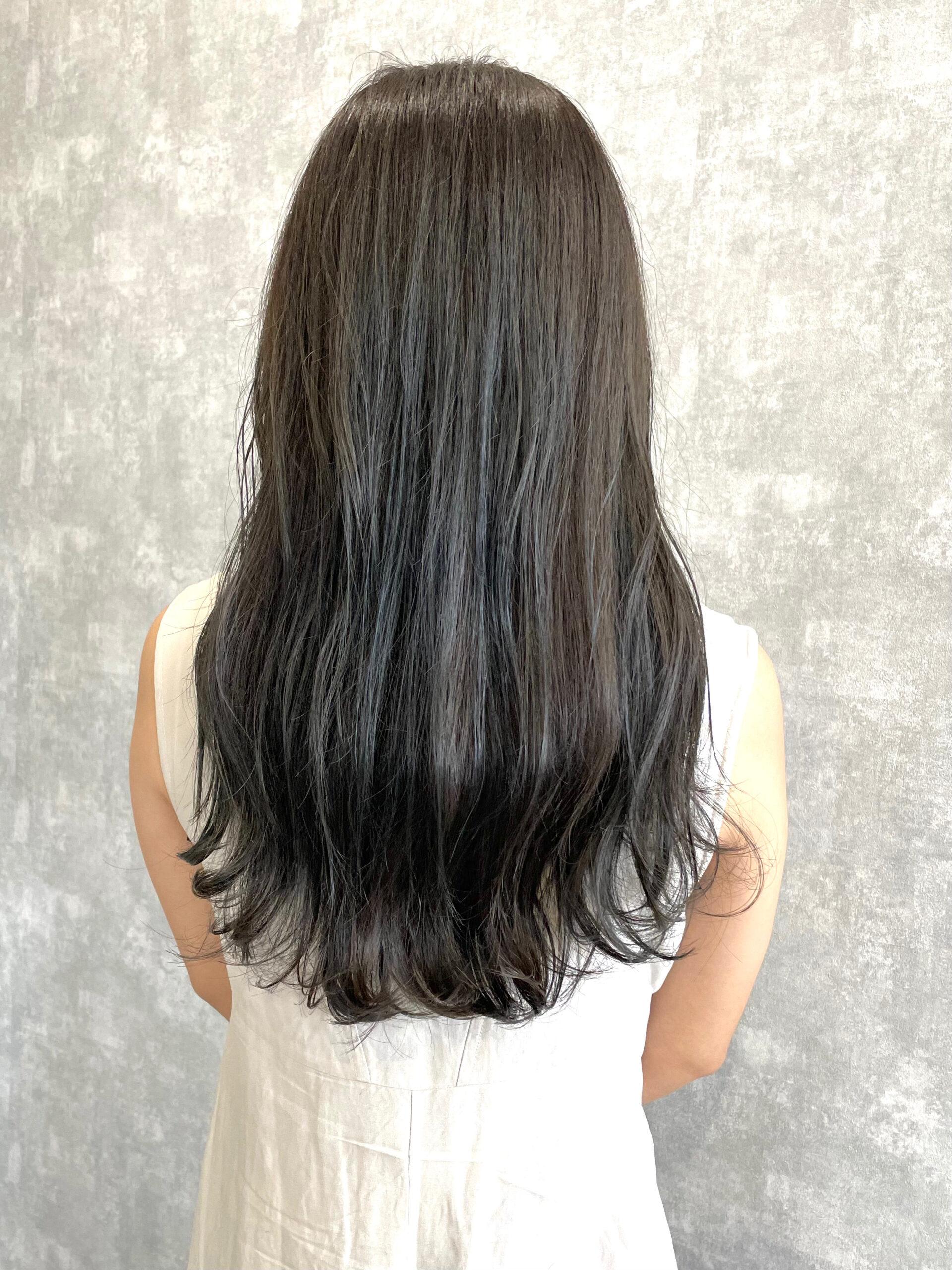 大分県別府市 暗めの髪色だけど透明感のあるヘアカラー アフター