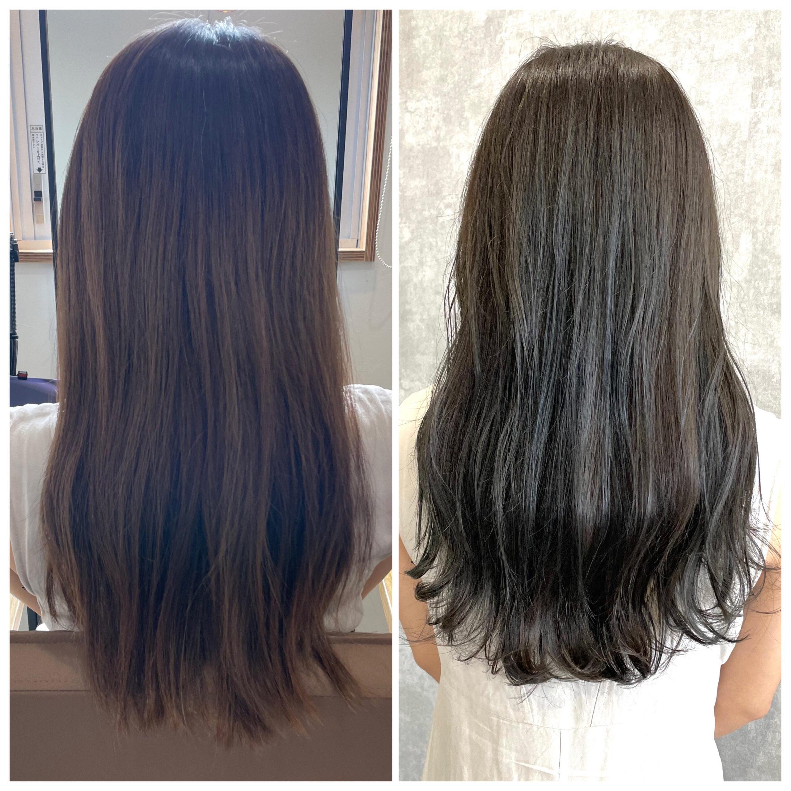 大分県別府市 暗めの髪色だけど透明感のあるヘアカラー ビフォーアフター