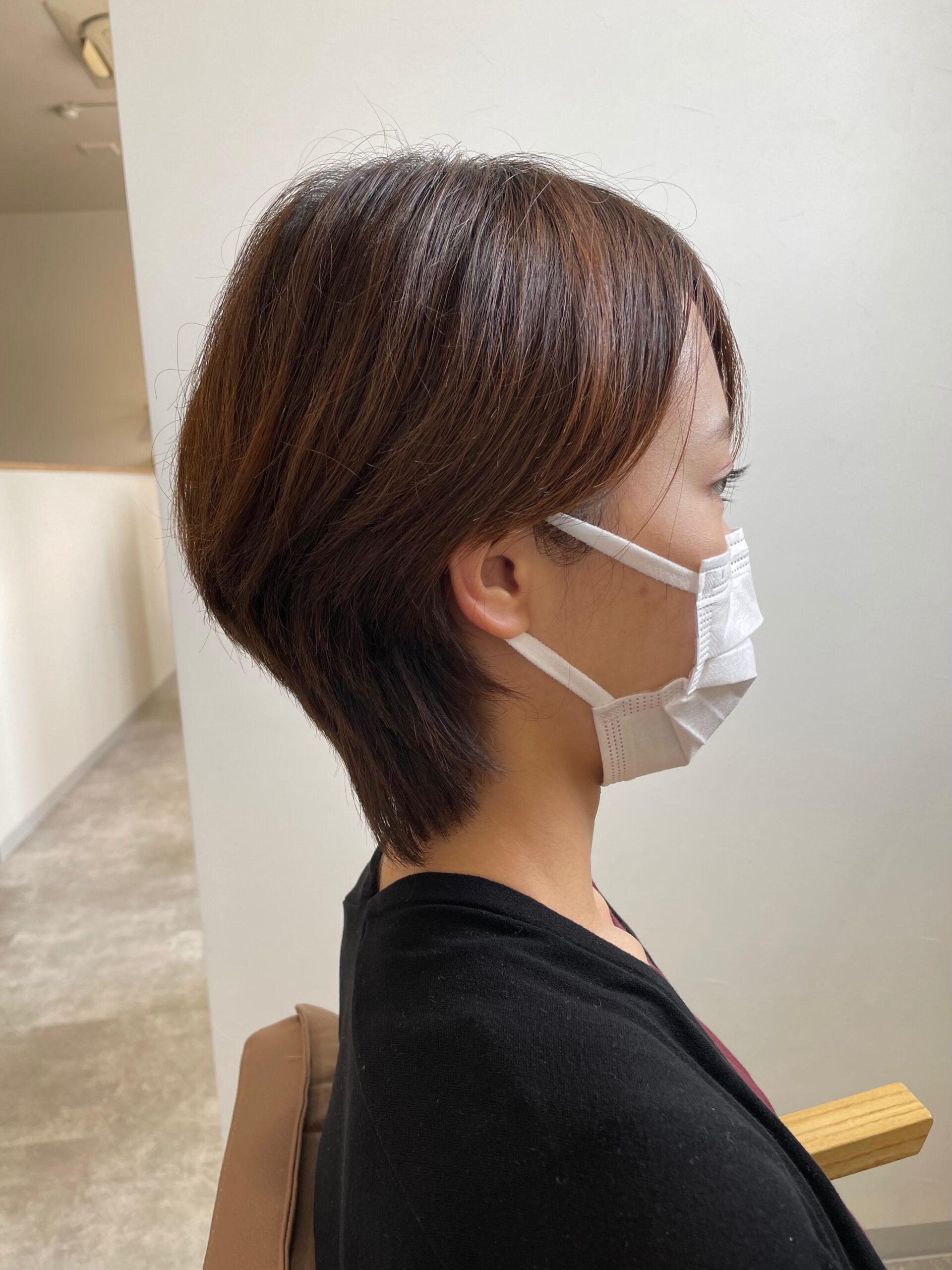 大分県別府市 暗髪×ハンサムショートでクールなショートヘア ビフォー