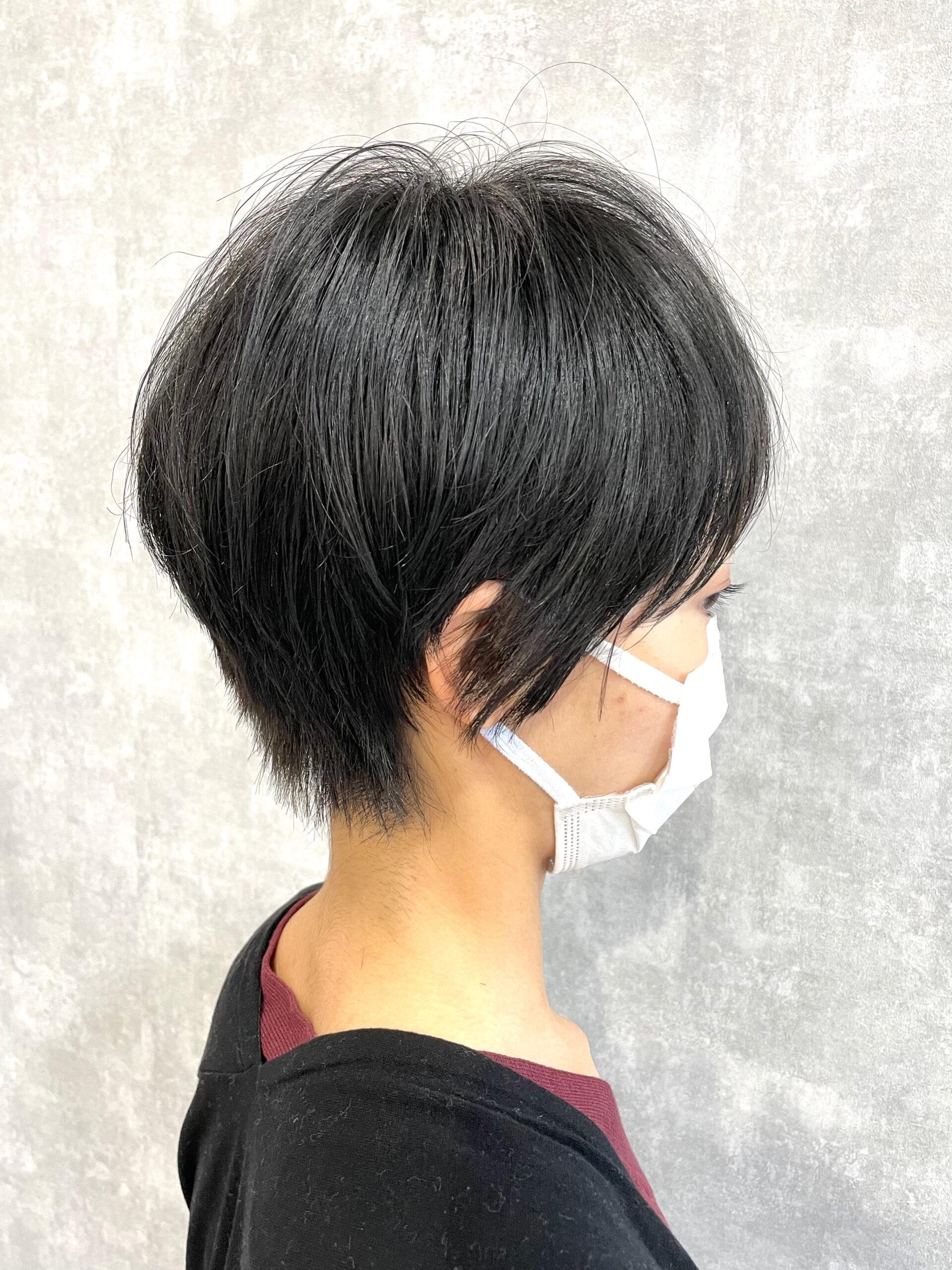 大分県別府市 暗髪×ハンサムショートでクールなショートヘア アフター