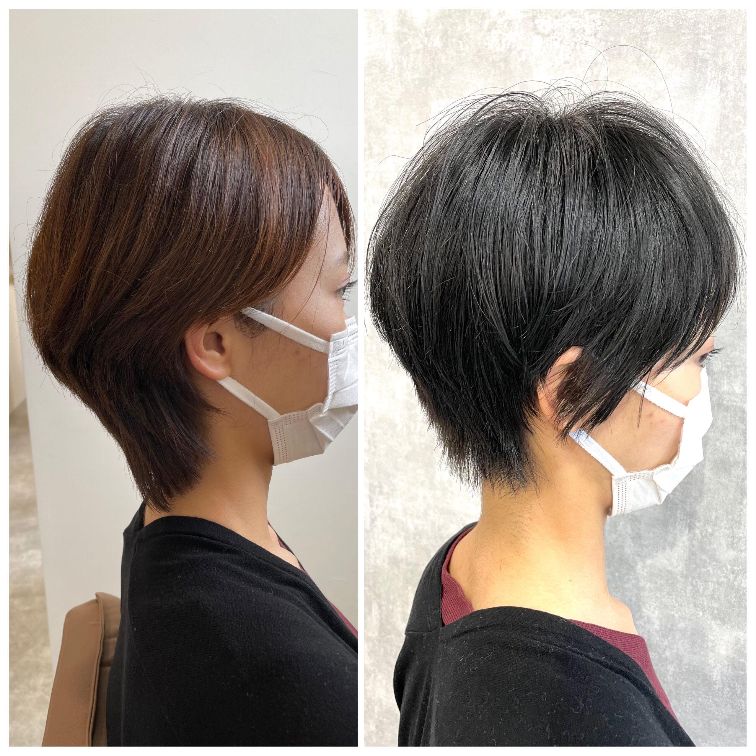 大分県別府市 暗髪×ハンサムショートでクールなショートヘア ビフォーアフター