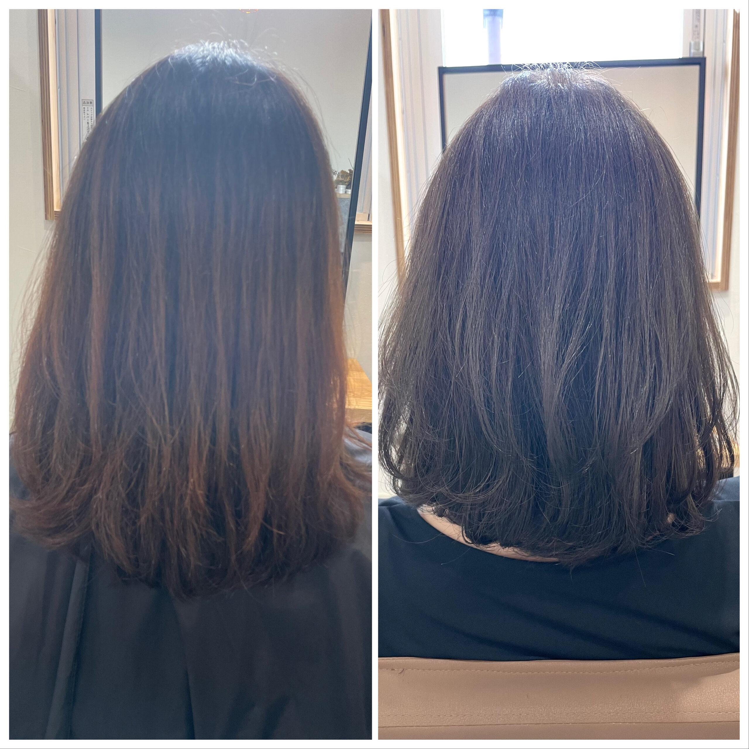 大分県別府市 オレンジっぽくなる髪色を解消『アッシュグレージュのヘアカラー』 ビフォーアフター
