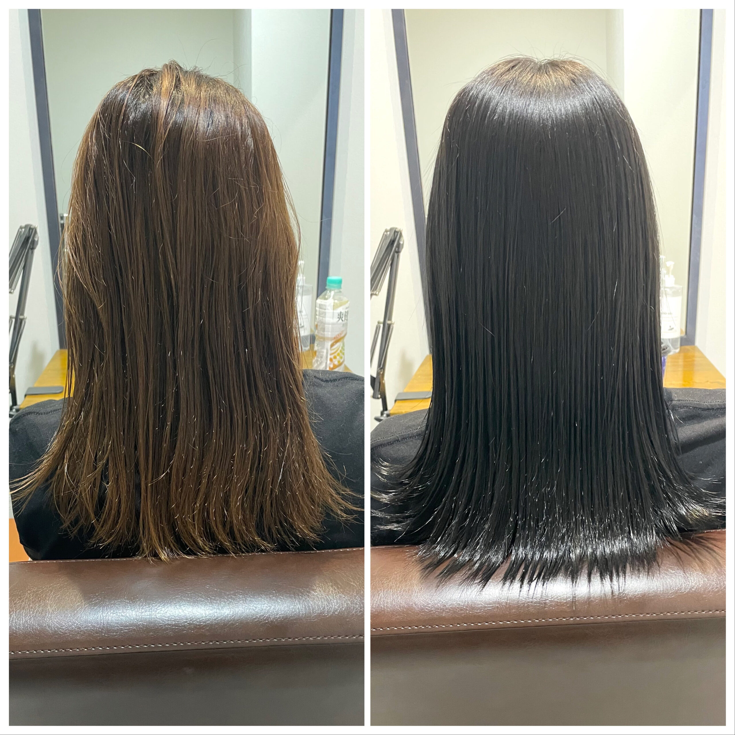 大分県別府市 髪質改善トリートメントで艶髪カラー ビフォーアフター