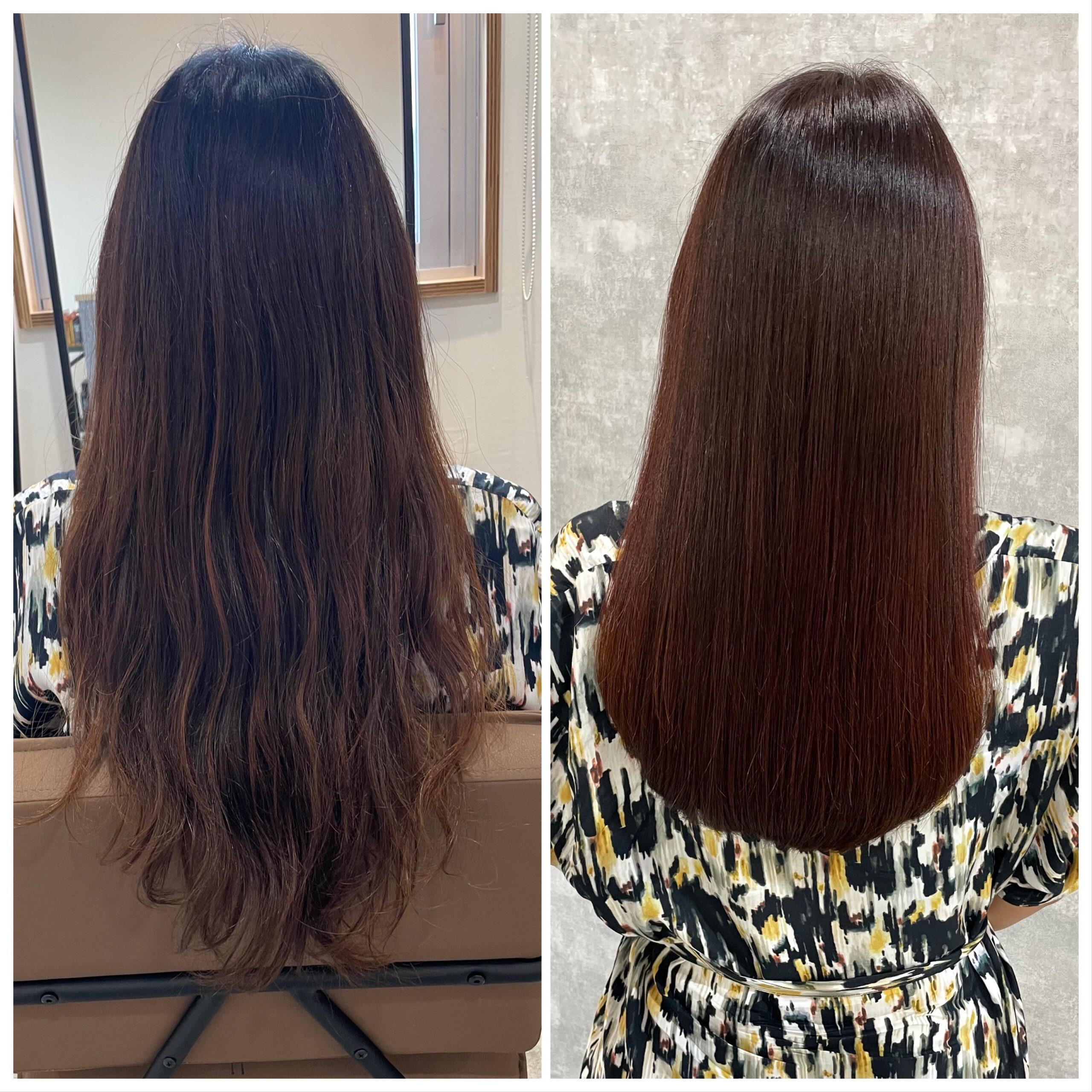 大分県別府市 髪質改善トリートメント&カラー ビフォーアフター