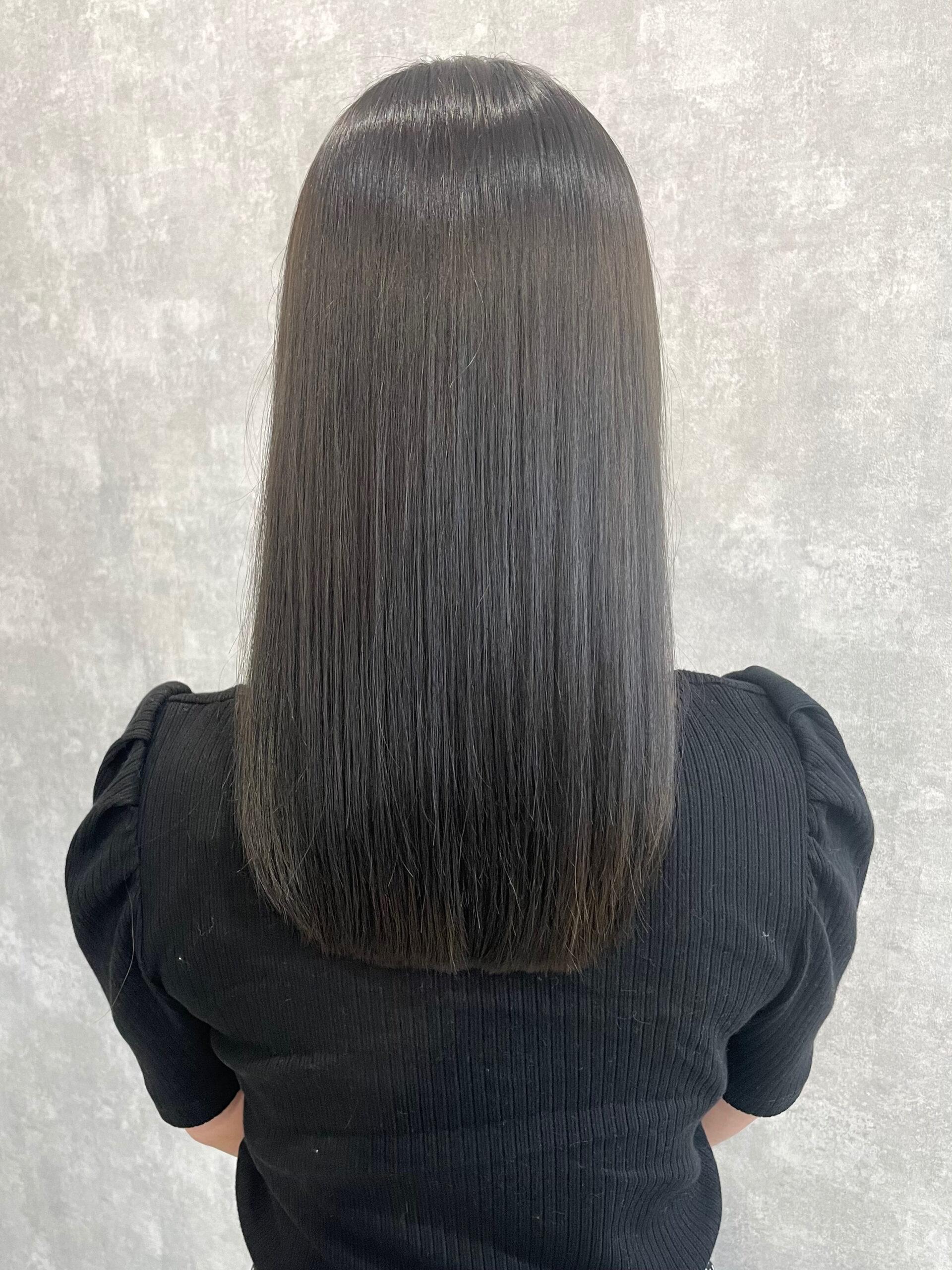 大分県別府市 髪質改善トリートメントでツヤツヤカラー アフター