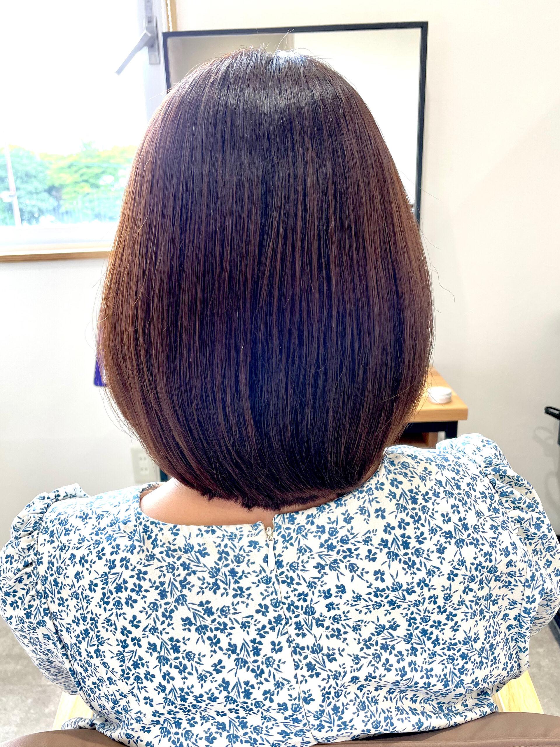 大分県別府市 弱酸性の縮毛矯正とトリートメントでダメージ毛も綺麗なストレートヘア アフター