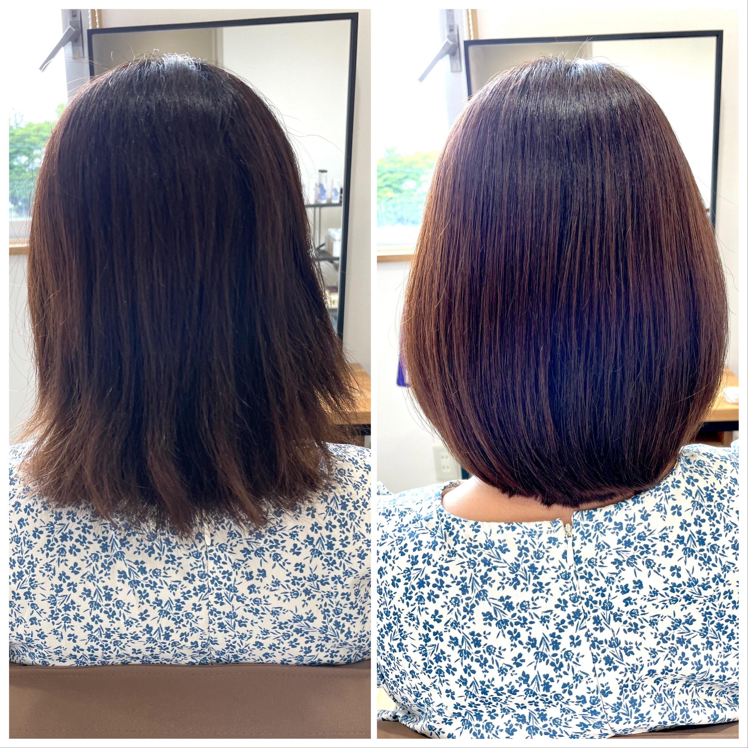 大分県別府市 弱酸性の縮毛矯正とトリートメントでダメージ毛も綺麗なストレートヘア ビフォーアフター