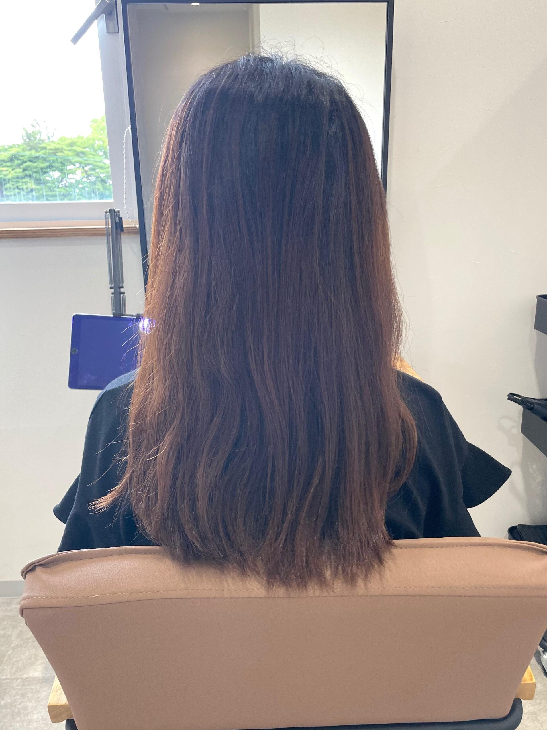 大分県別府市 オレンジみを消した透明感カラー『髪質改善トリートメント』 ビフォー