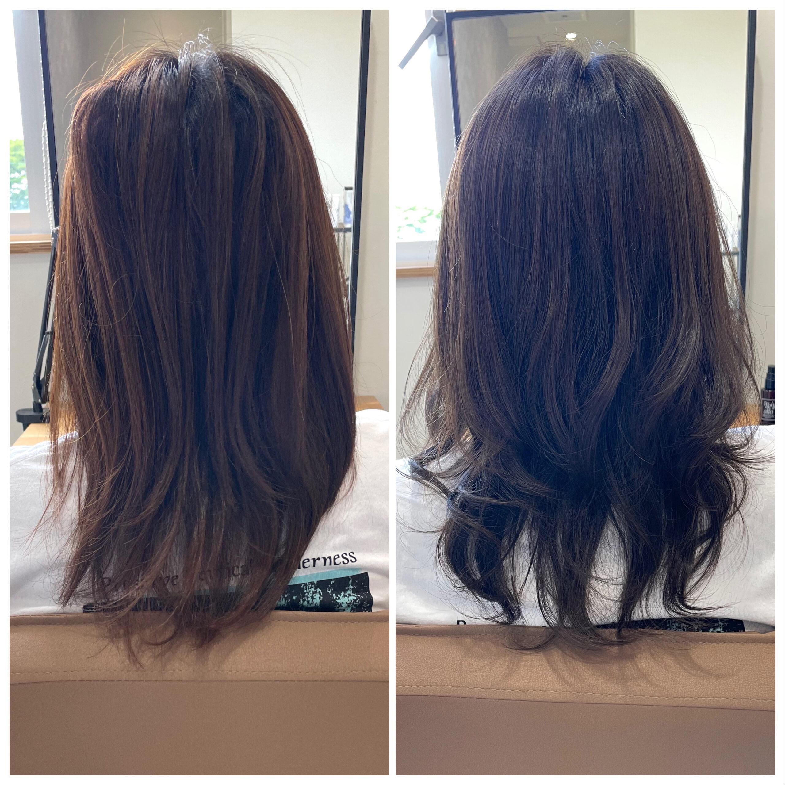 大分県別府市 明るく抜けやすい髪質の方にオススメのヘアカラー『暗めアッシュグレージュ』 ビフォーアフター