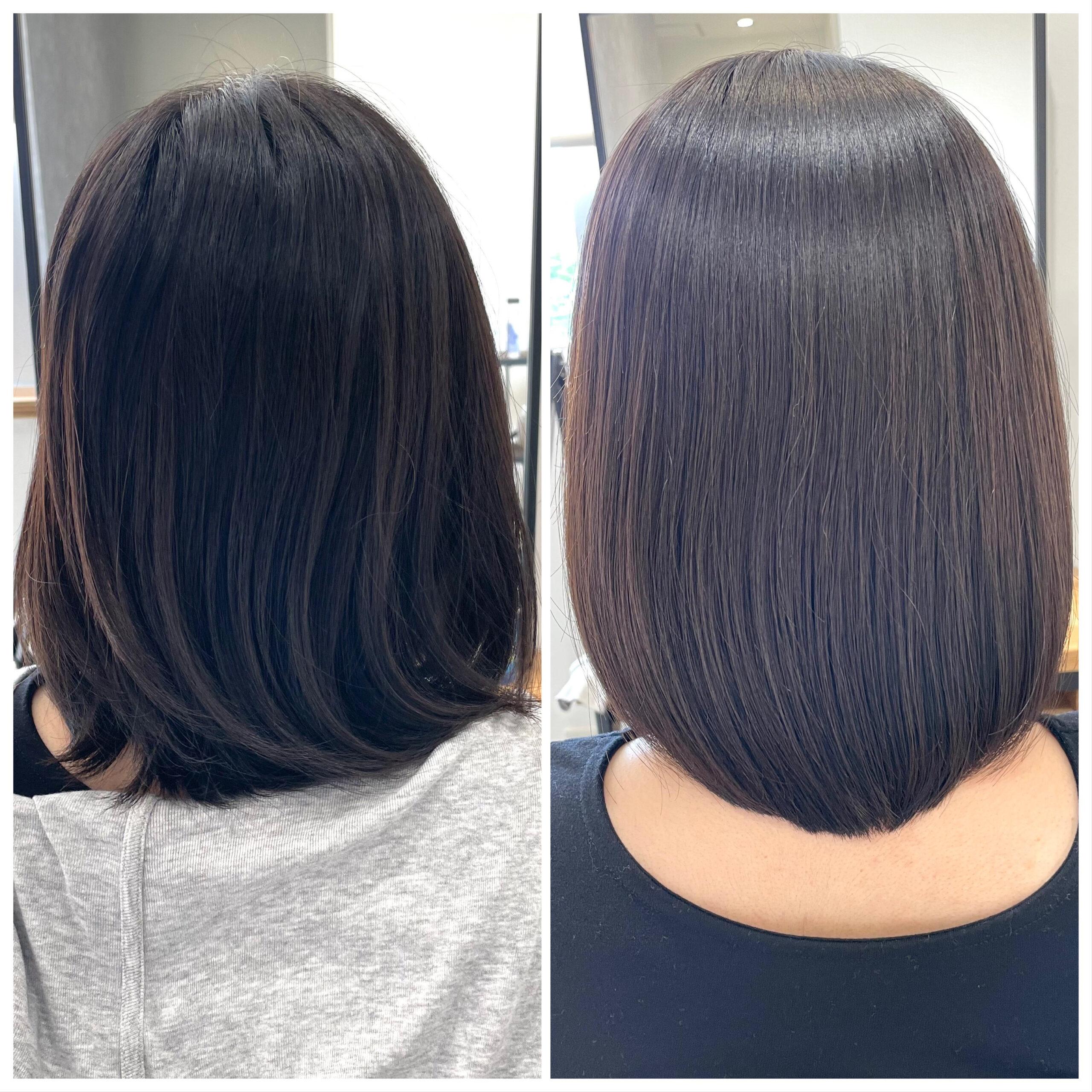 大分県別府市 弱酸性の縮毛矯正で髪質改善 ビフォーアフター