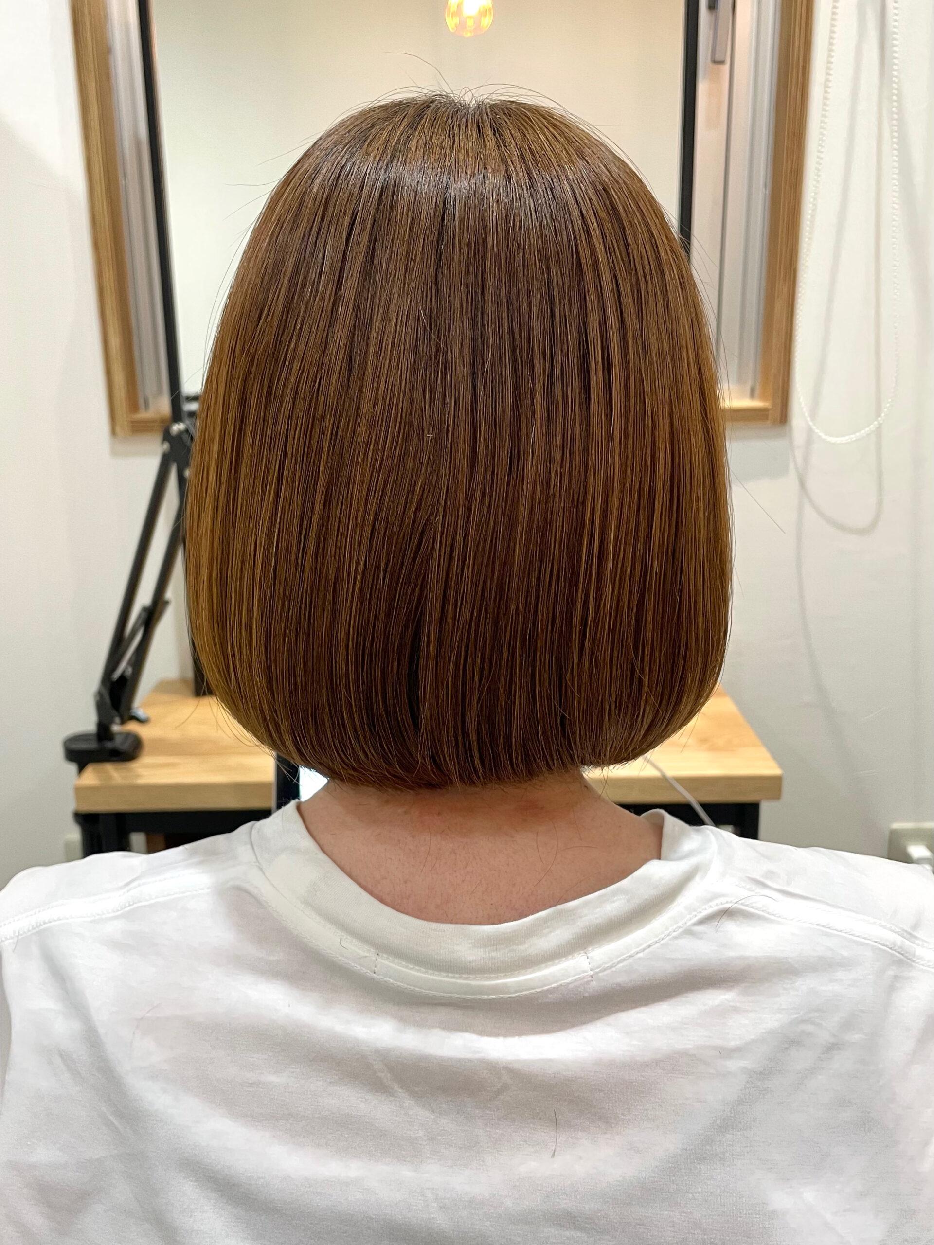 大分県別府市 弱酸性の縮毛矯正で髪質改善ストレート アフター