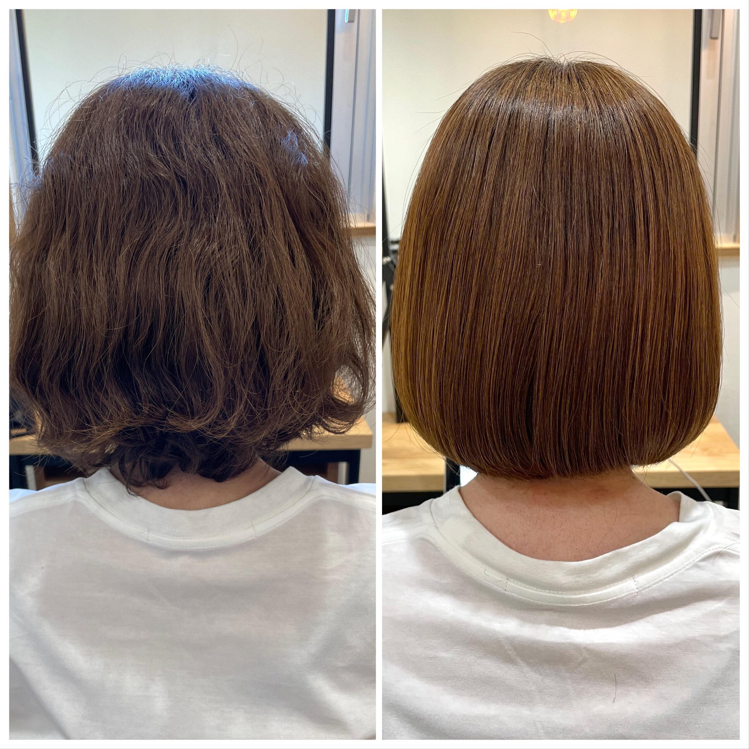 大分県別府市 弱酸性の縮毛矯正で髪質改善ストレート ビフォーアフター