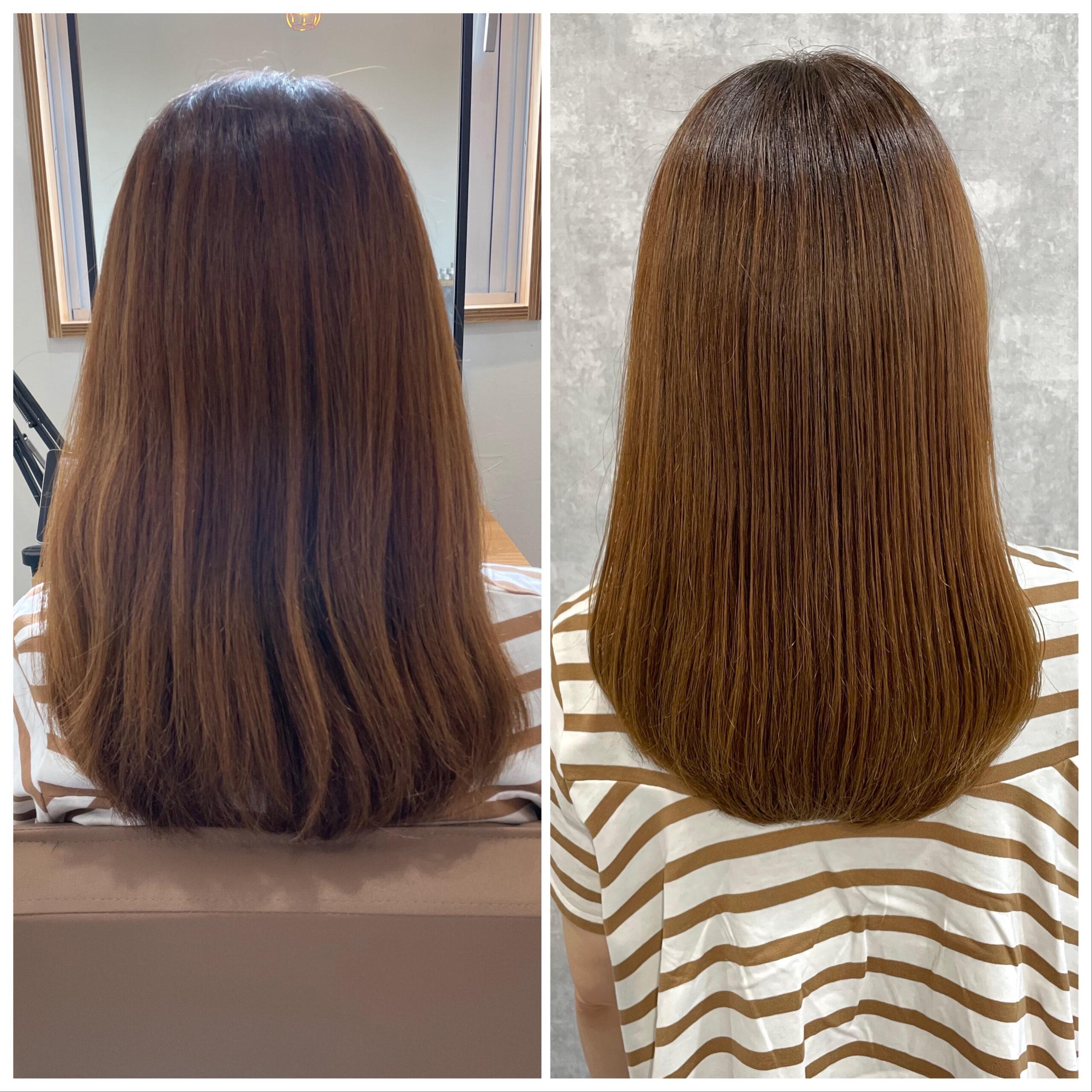 大分県別府市 弱酸性の縮毛矯正で髪質改善ストカール ビフォーアフター