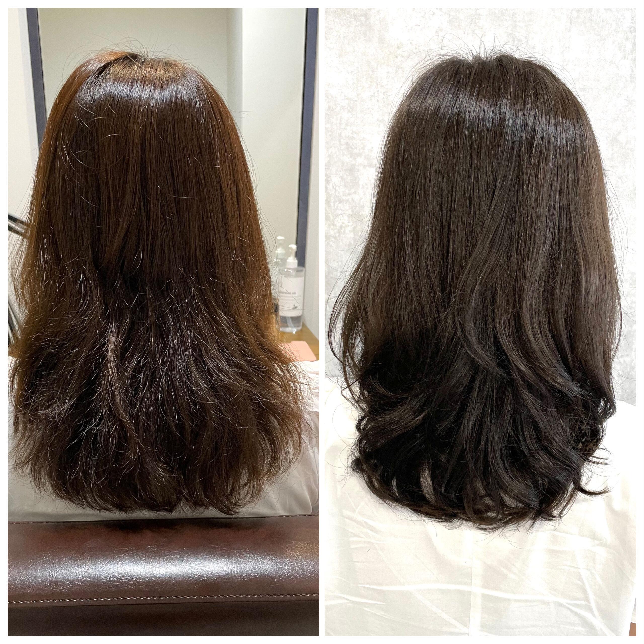 大分県別府市 髪質改善トリートメントで毛先のパサパサを解消! ビフォーアフター