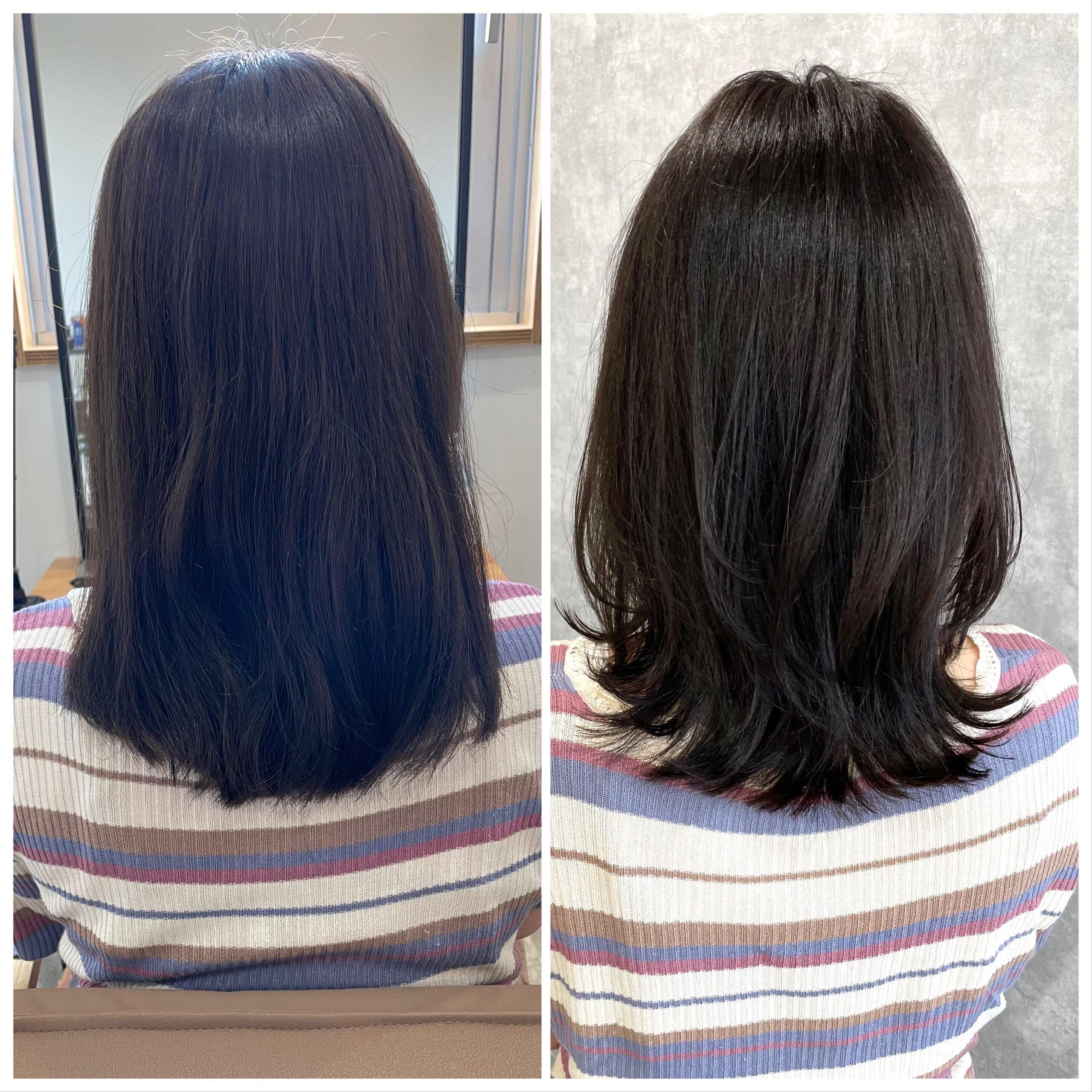 大分県別府市 新しく進化した髪質改善トリートメントで艶髪カラー ビフォーアフター