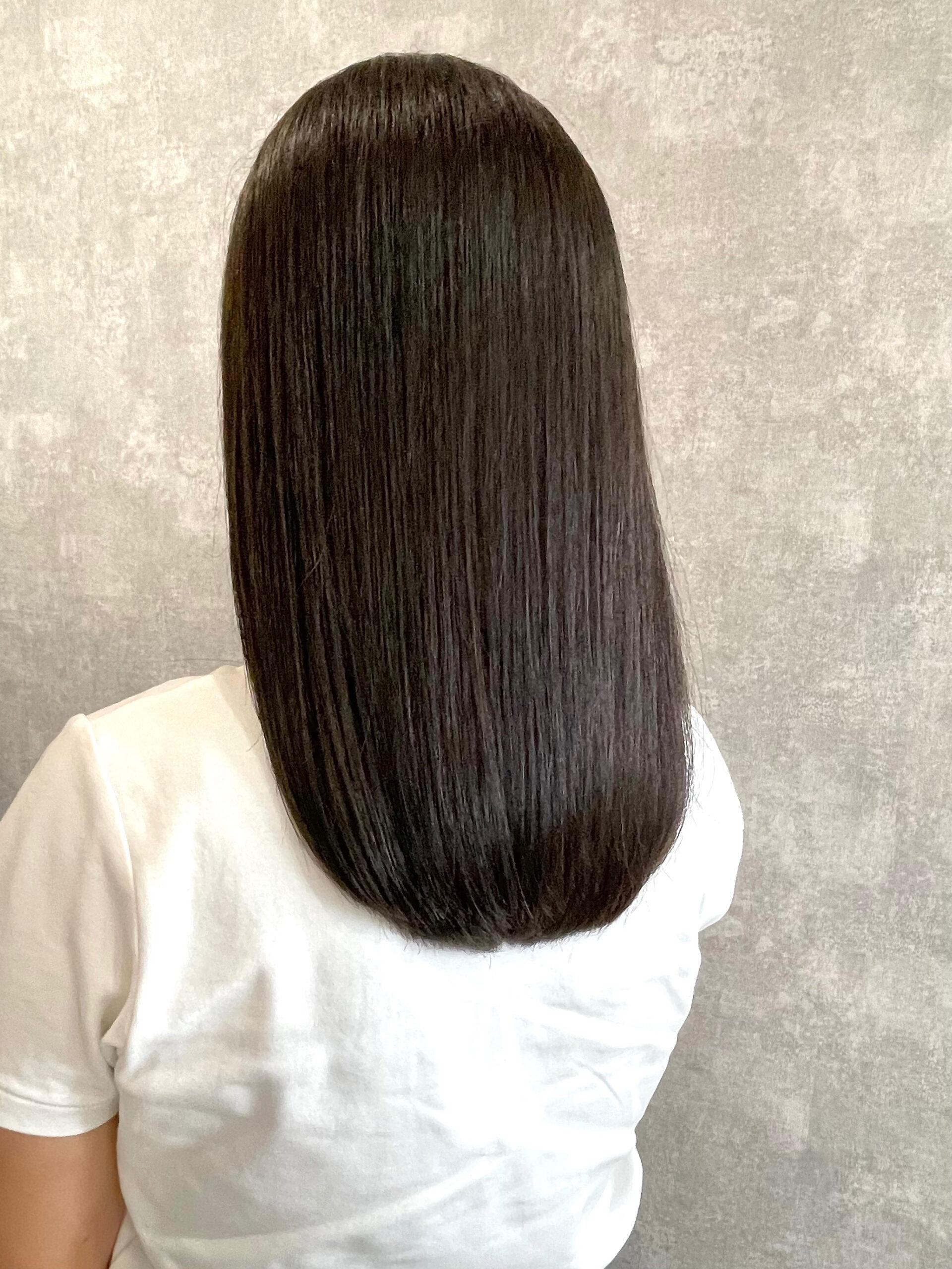 大分県別府市 髪質改善トリートメントで艶髪カラー『オリーブアッシュ』 アフター