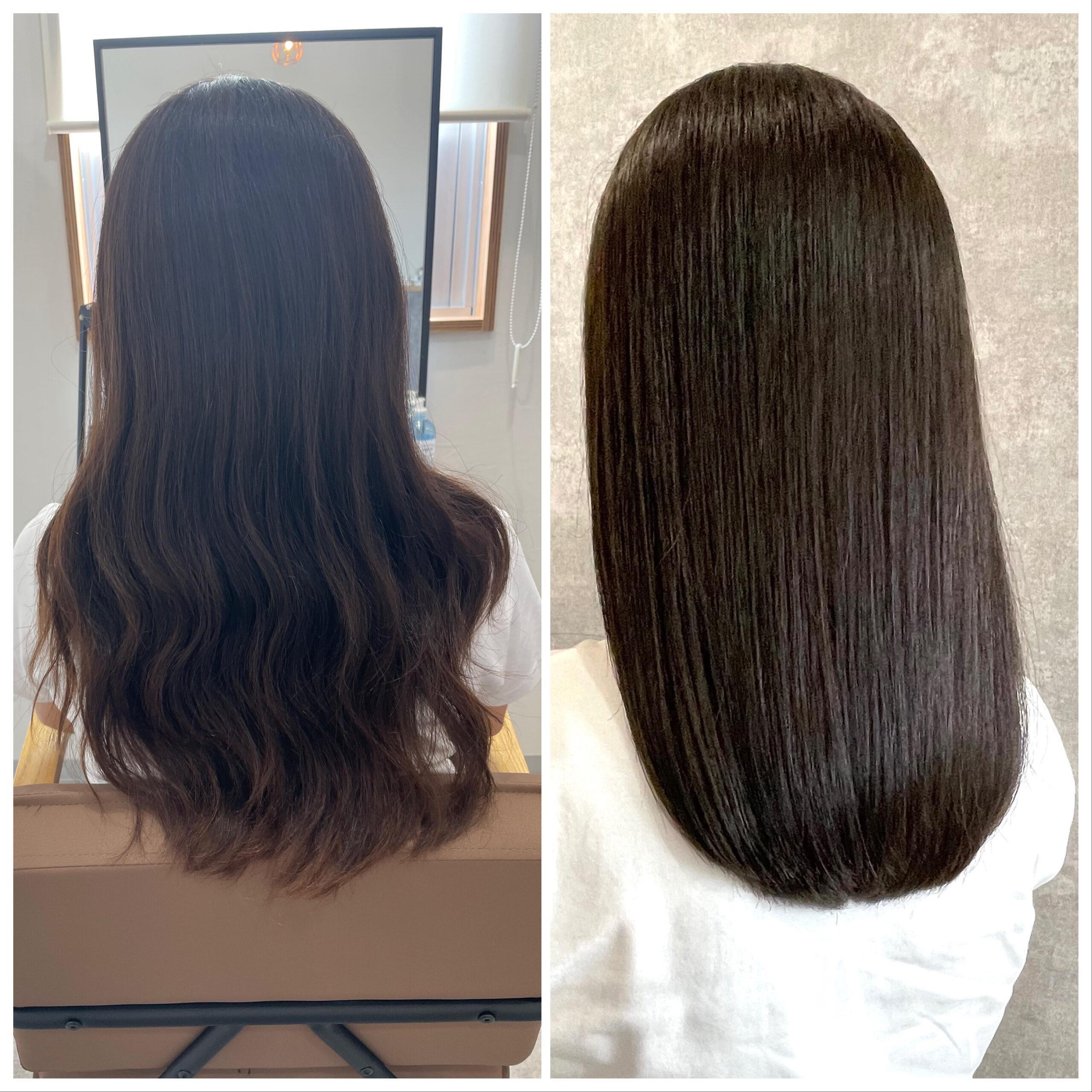 大分県別府市 髪質改善トリートメントで艶髪カラー『オリーブアッシュ』 ビフォーアフター