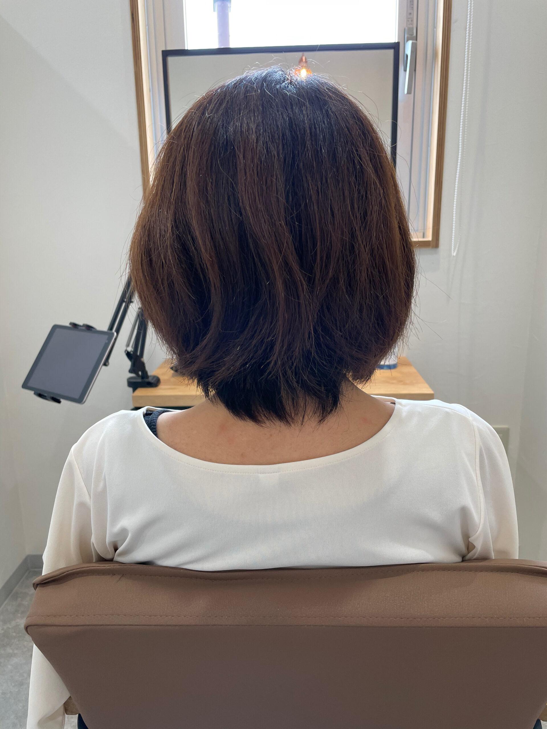 大分県別府市 髪質改善の弱酸性ストレートで自然なボブスタイル ビフォー